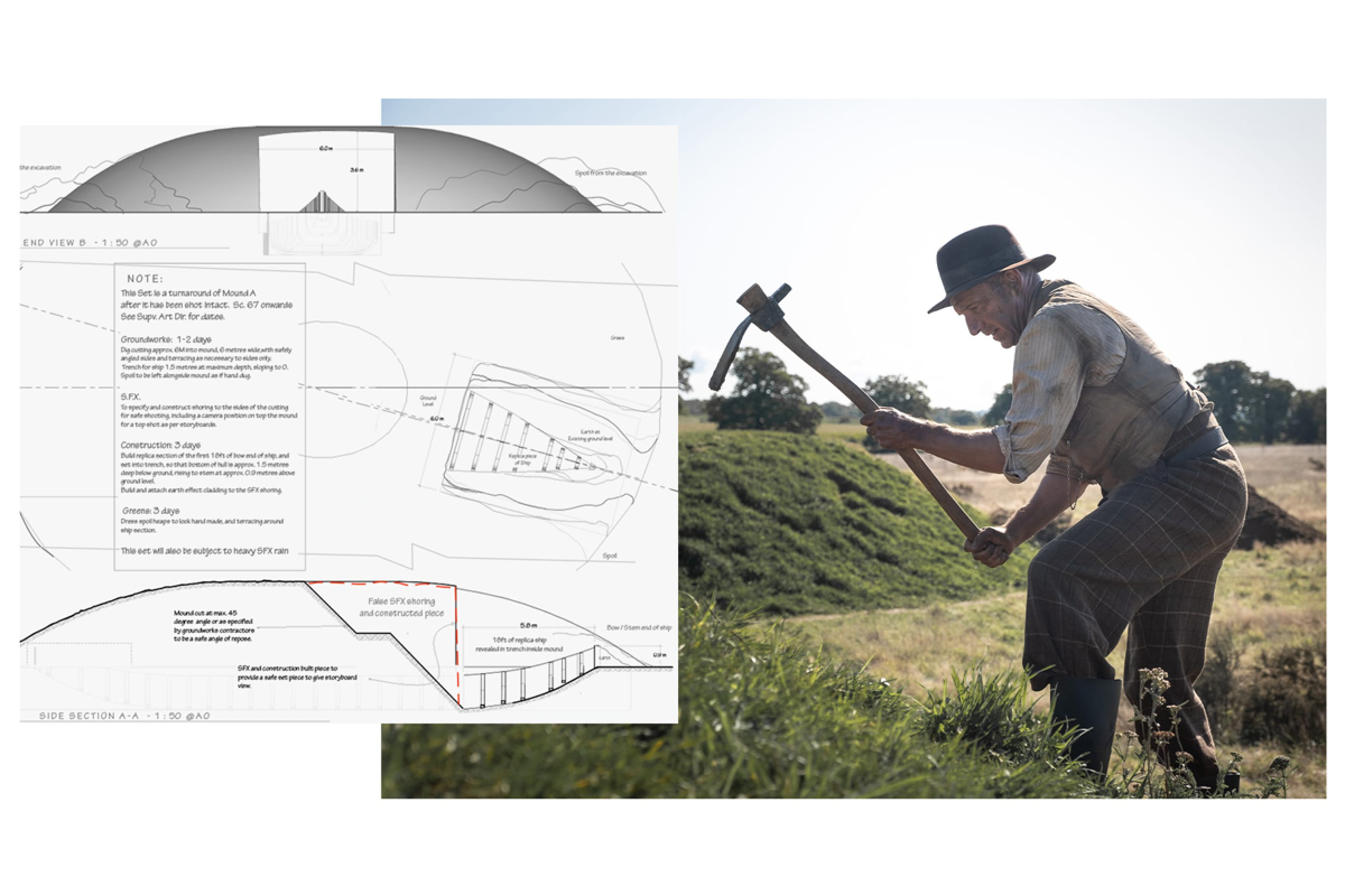 Basil Brown takes a pickaxe to one of the ancient burial mounds in a still from the film. A production sketch shows a map of the digsite.