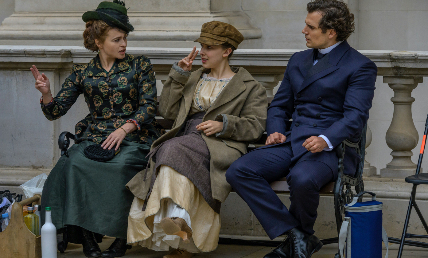Helena Bonham Carter, Millie Bobby Brown, and Henry Cavill in between takes