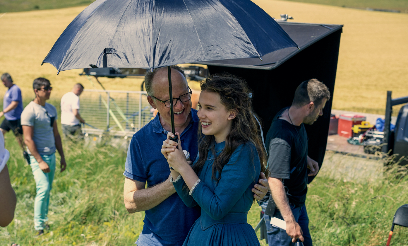 Millie Bobby Brown with director Harry Bradbeer