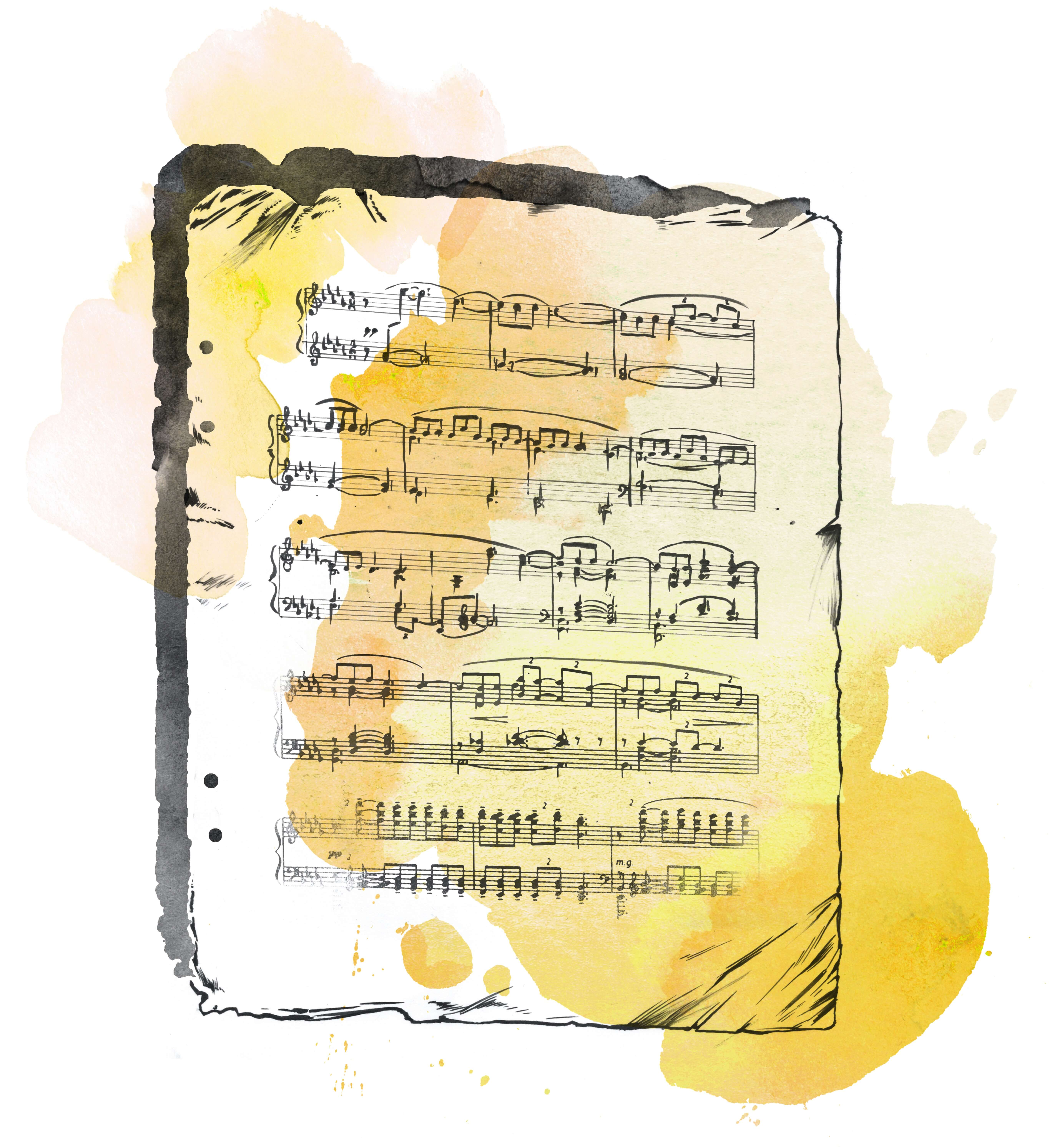 """Watercolor illustration of the sheet music for """"Claire de Lune."""" Overrated or underrated?"""