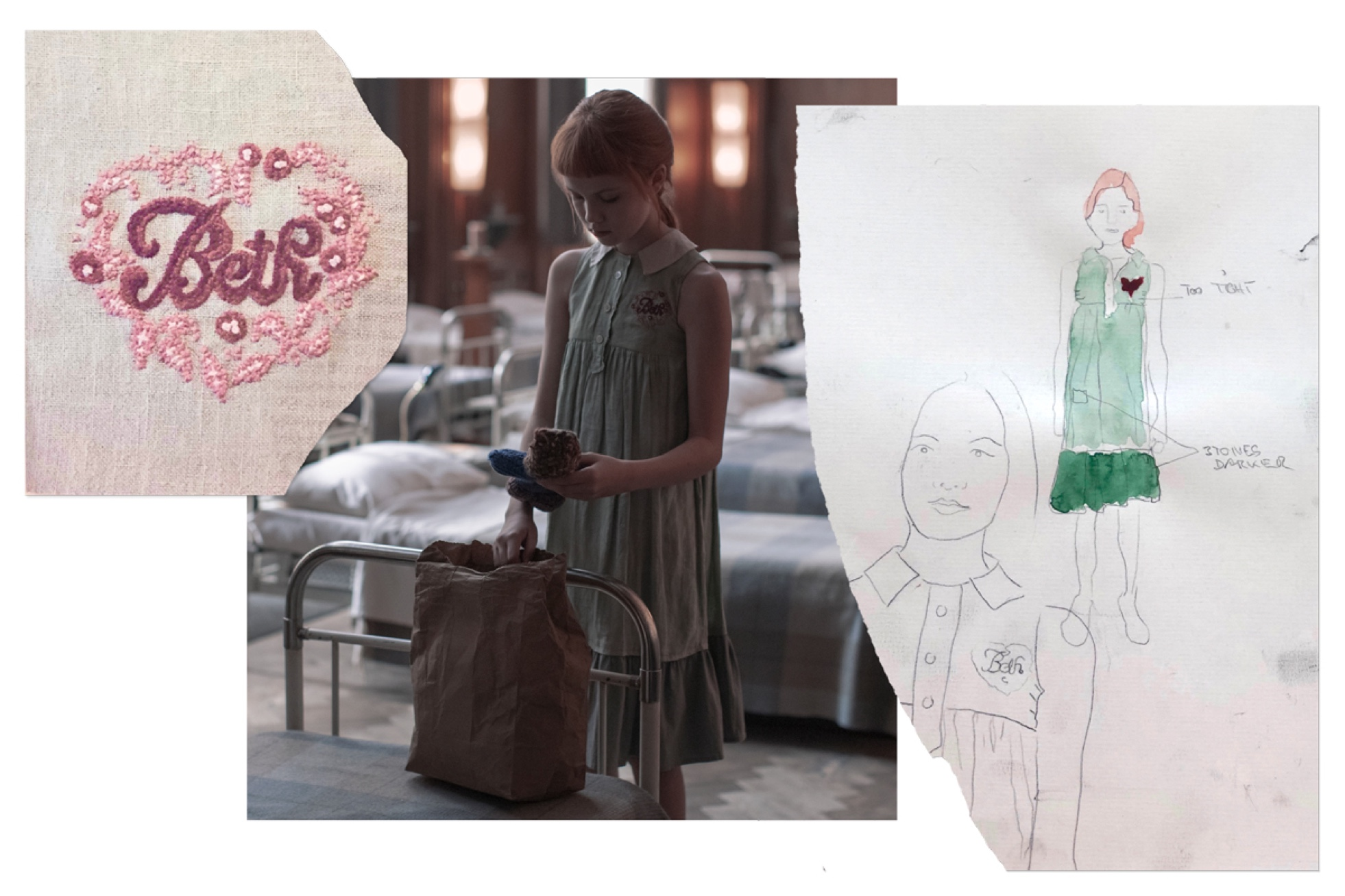 Young Beth Harmon arrives at the orphanage in a green linen dress, which she'll soon be forced to swap for pinafores, pinafores, pinafores. A still from the series is matched with its corresponding costume sketch, accented with watercolor.