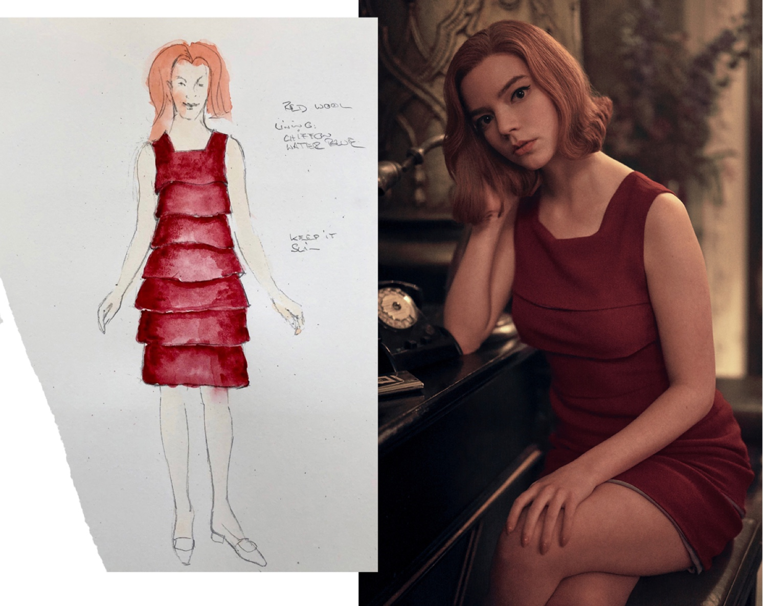 Beth cuts a stylish figure in a crimson crepe dress. A still from the series is matched with its corresponding costume sketch, the red of the dress and of Beth's hair jumping off the page.