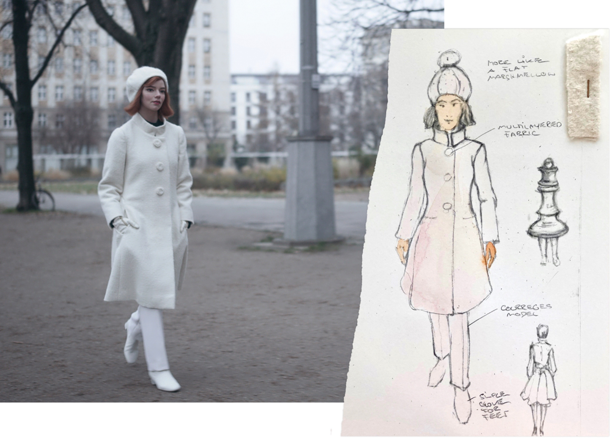 Beth in her all-white ensemble, strutting through the streets of Moscow. A still from the series is matched with its corresponding costume sketch, which compares the costume's silhouette with that of the queen piece.