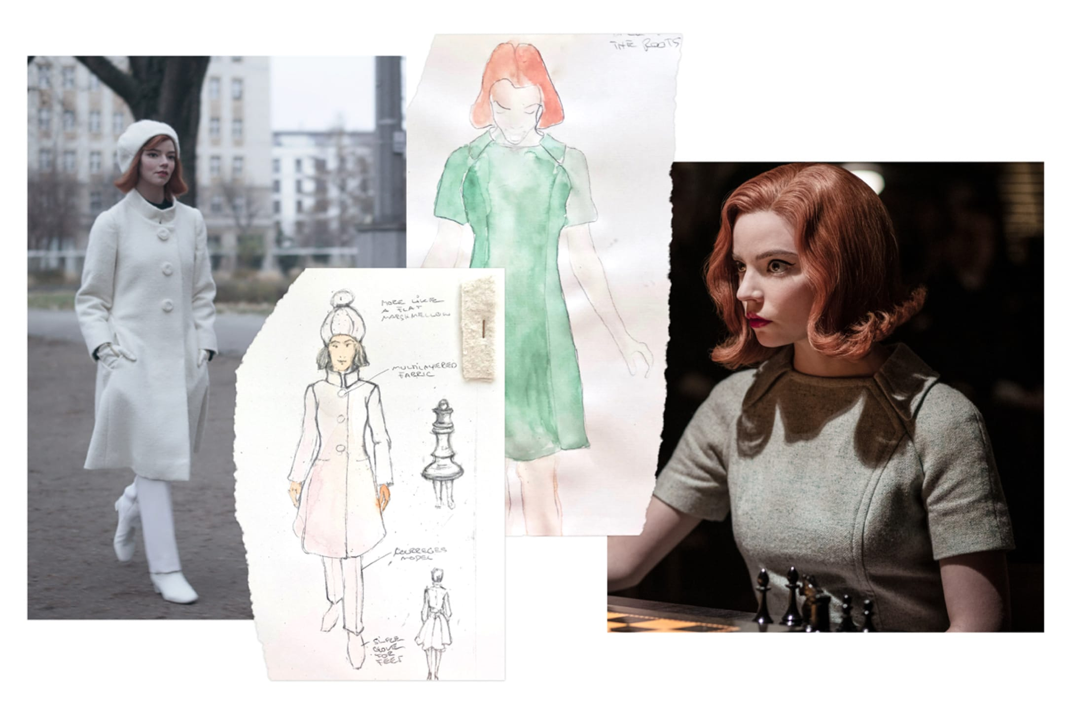 Costume sketches are interspersed with corresponding stills from The Queen's Gambit.