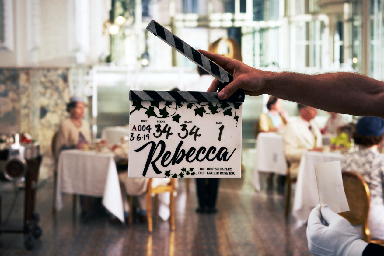 Clapperboard from the set of *Rebecca*