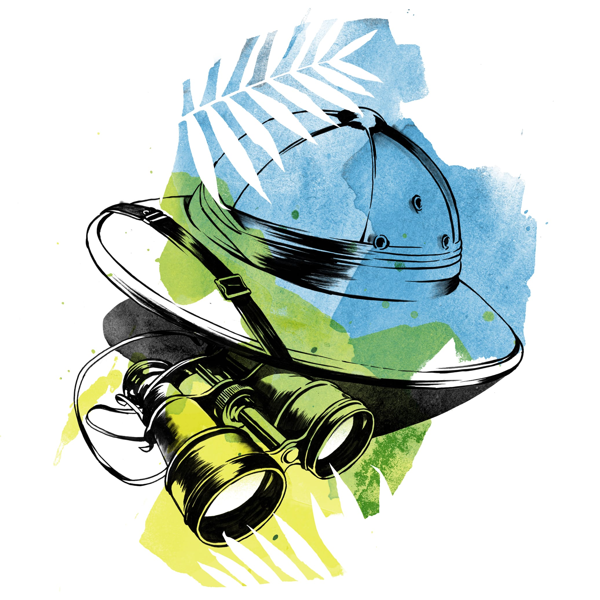Watercolor illustration of an explorer's hat and binoculars. According to Regé-Jean, acting is an adventure, but with fewer spiders.