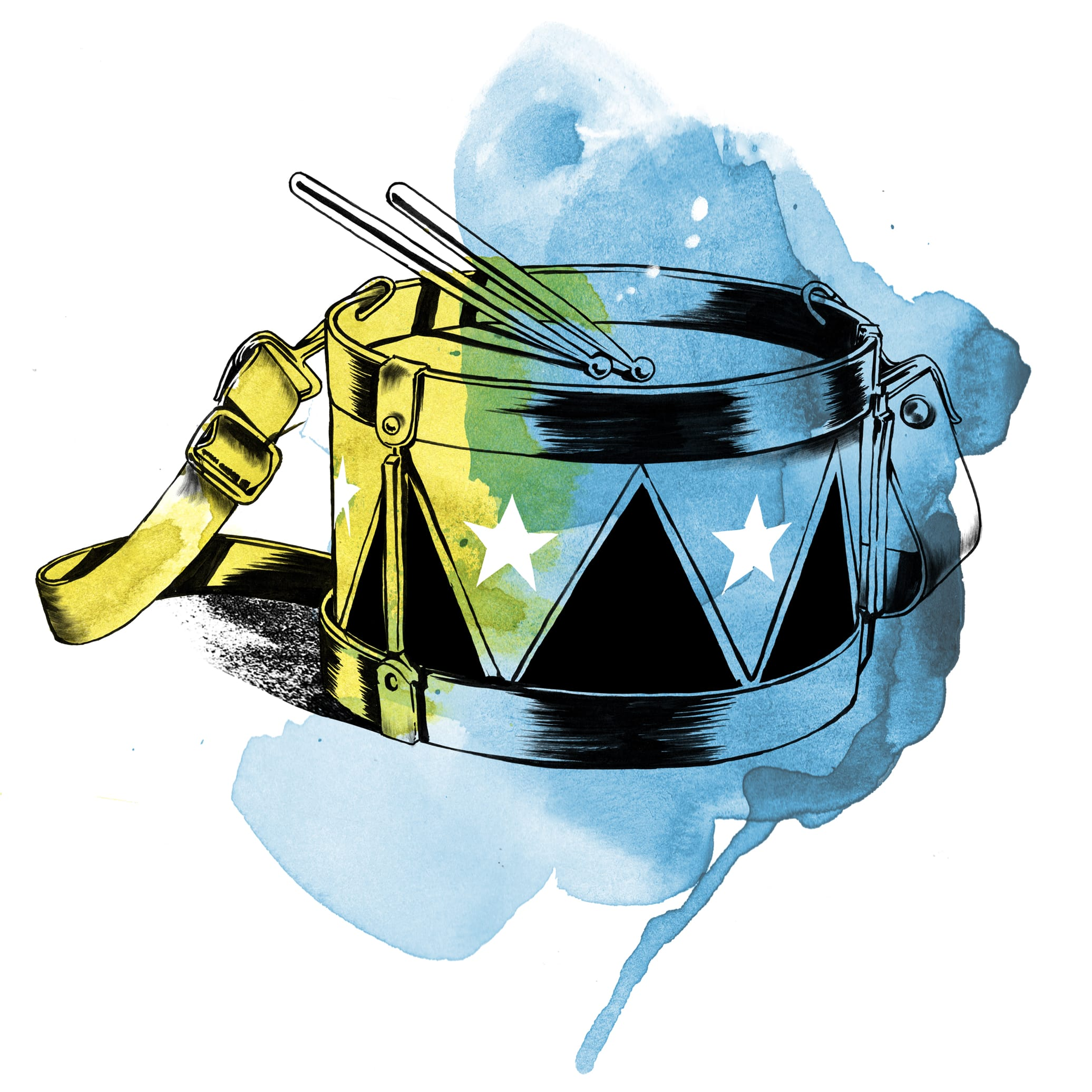 Watercolor illustration of the Little Drummer Boy's drum. Such playing from Regé-Jean!