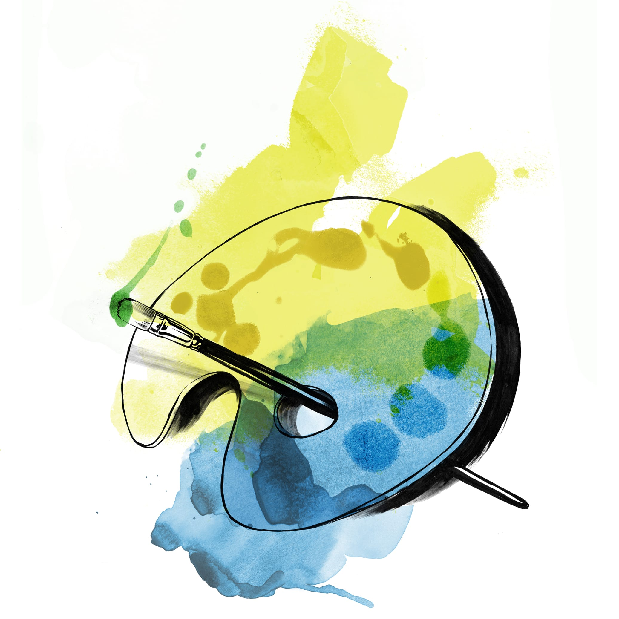 Watercolor illustration of an artist's palette. An actor must paint with all the colors of the wind, but this sketch is done in blue, yellow, and green.