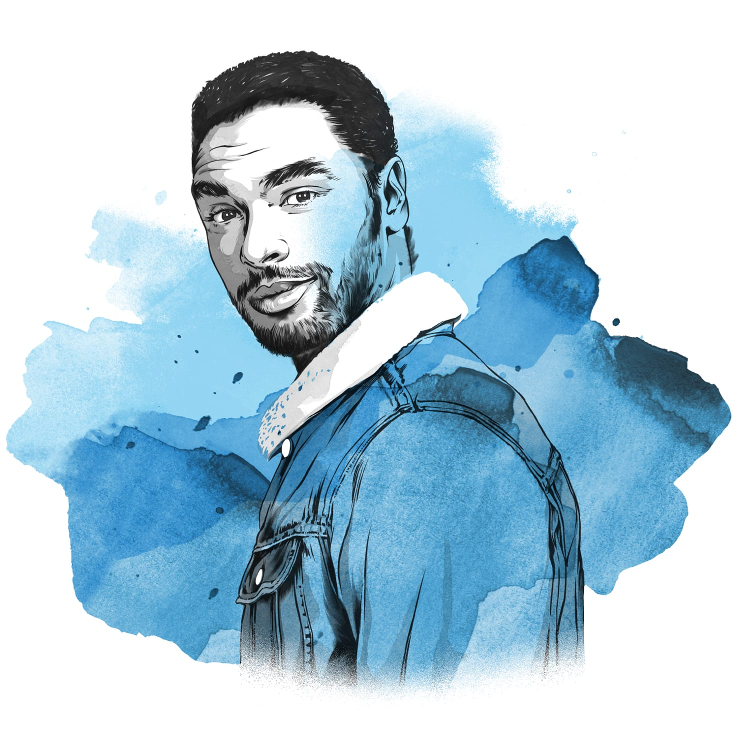 Blue-washed pencil and watercolor sketch of Regé-Jean Page giving you a knowing look.