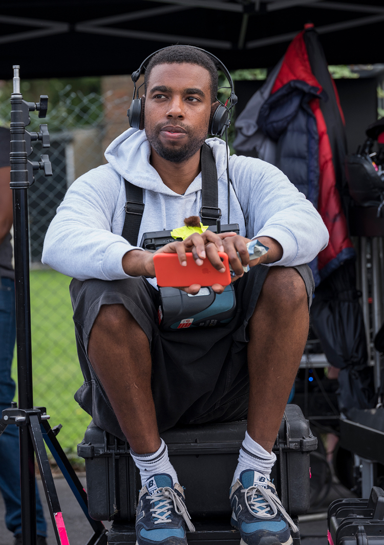 Remi Weekes on the set of His House