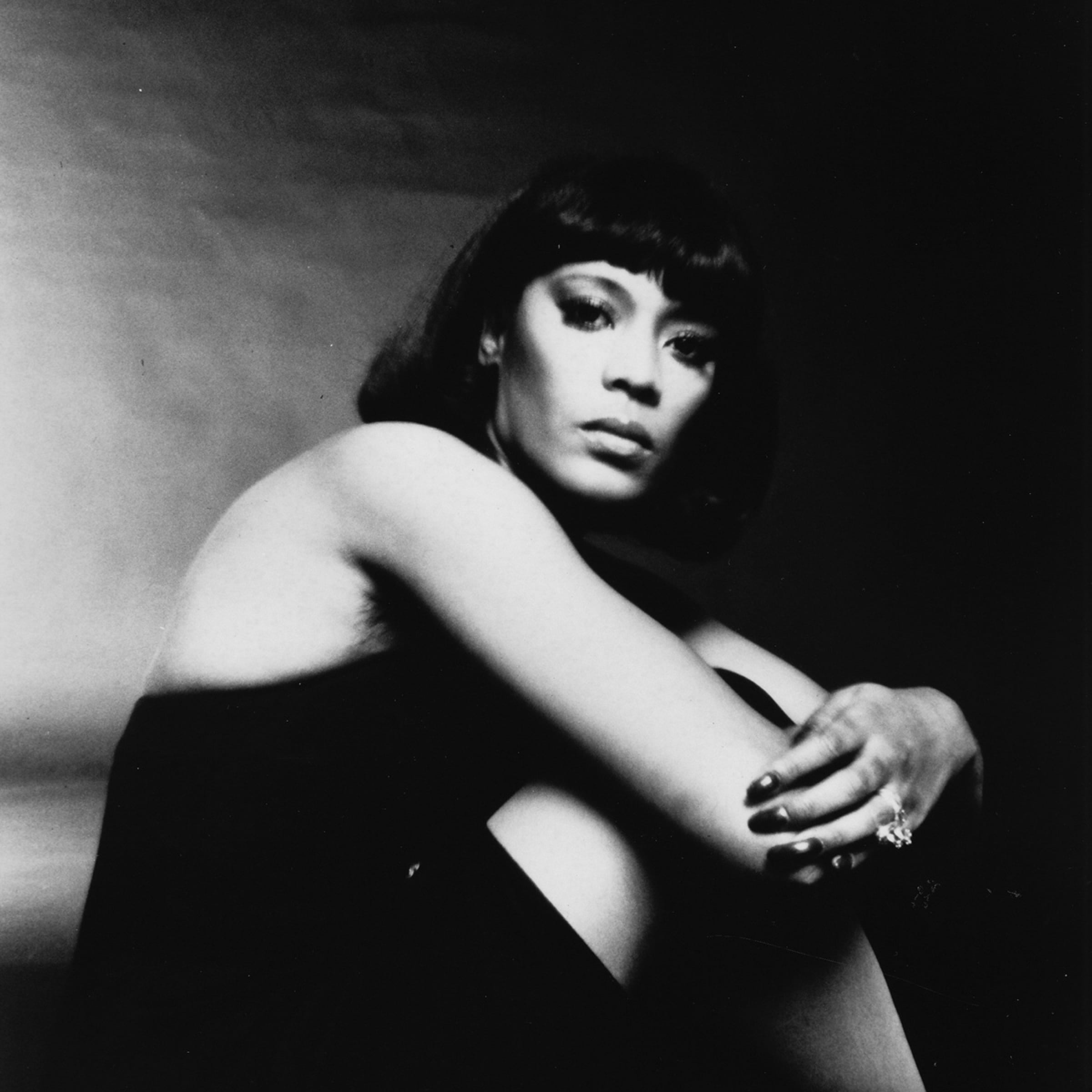 Ann Peebles sits for a black-and-white studio portrait in 1975.