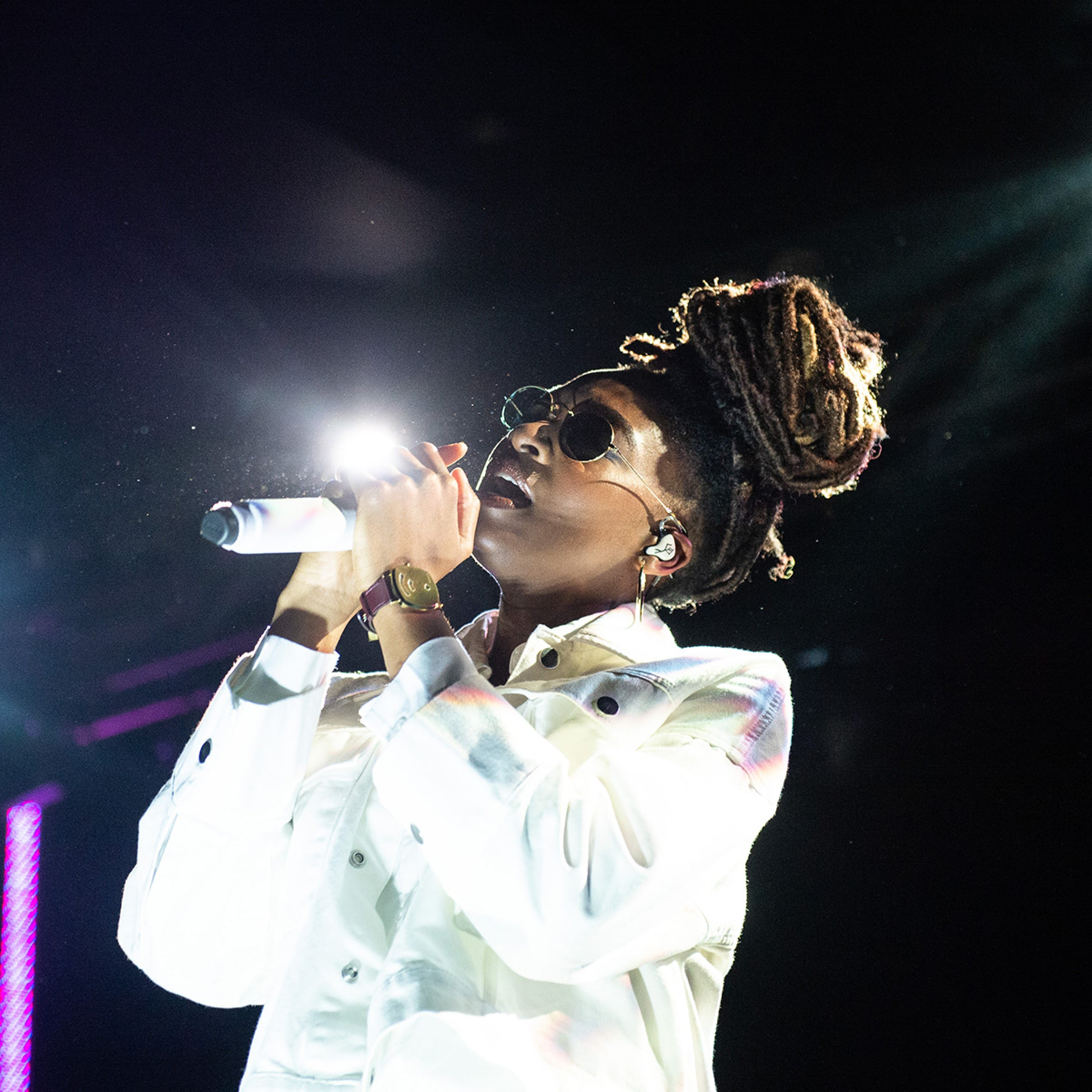 Little Simz performs on stage at EartH Hackney on October 29, 2019 in London, United Kingdom.