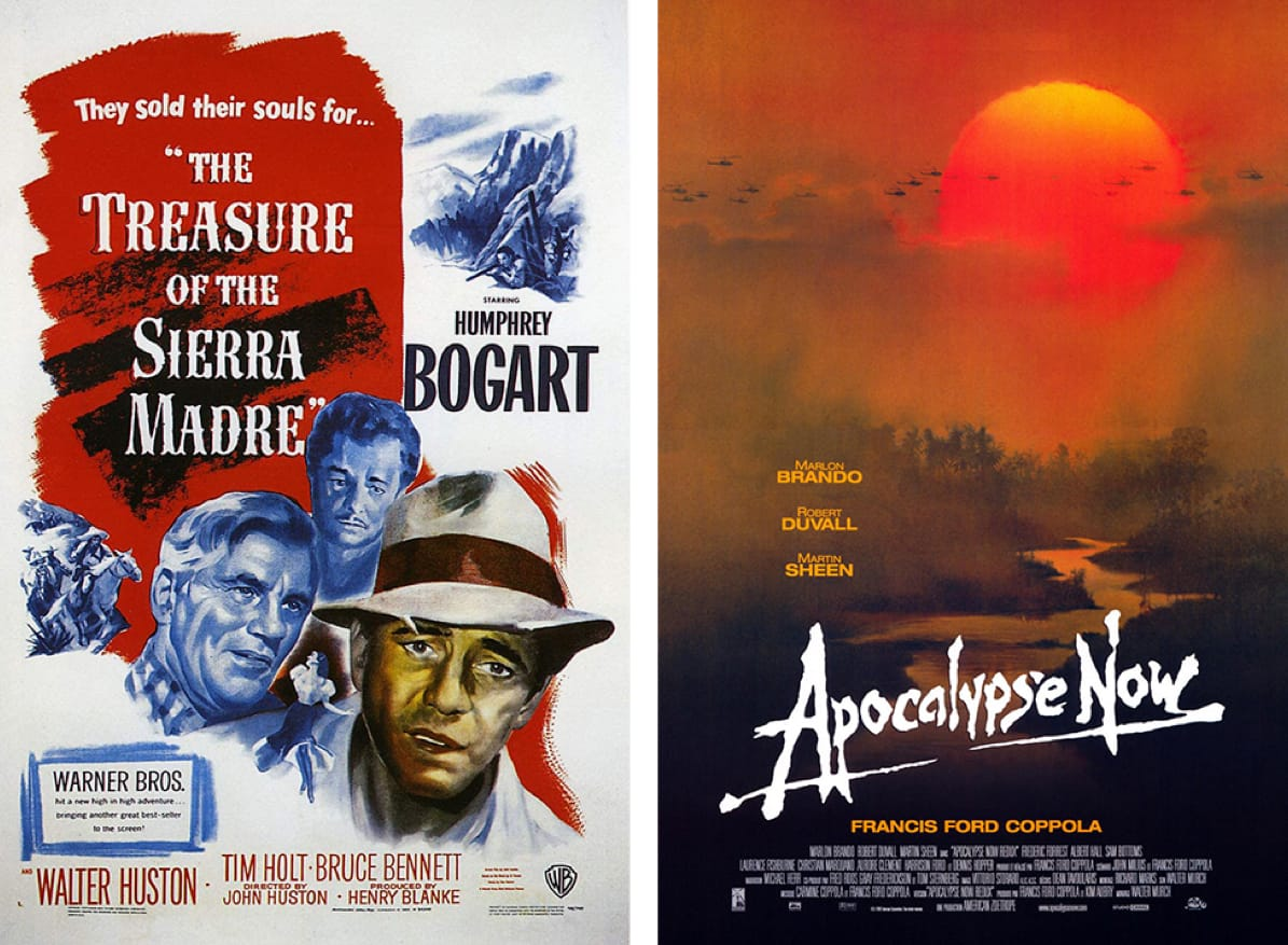 Film posters for The Treasure of the Sierra Madre and Apocalypse Now