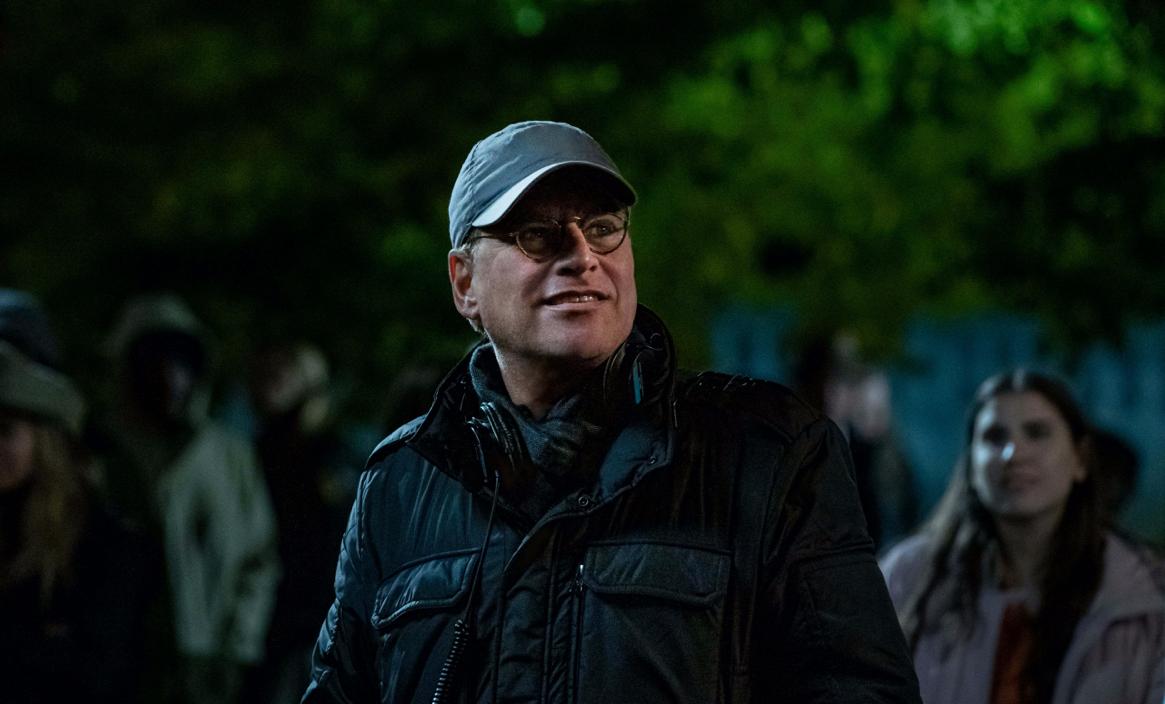 Writer-director Aaron Sorkin on set