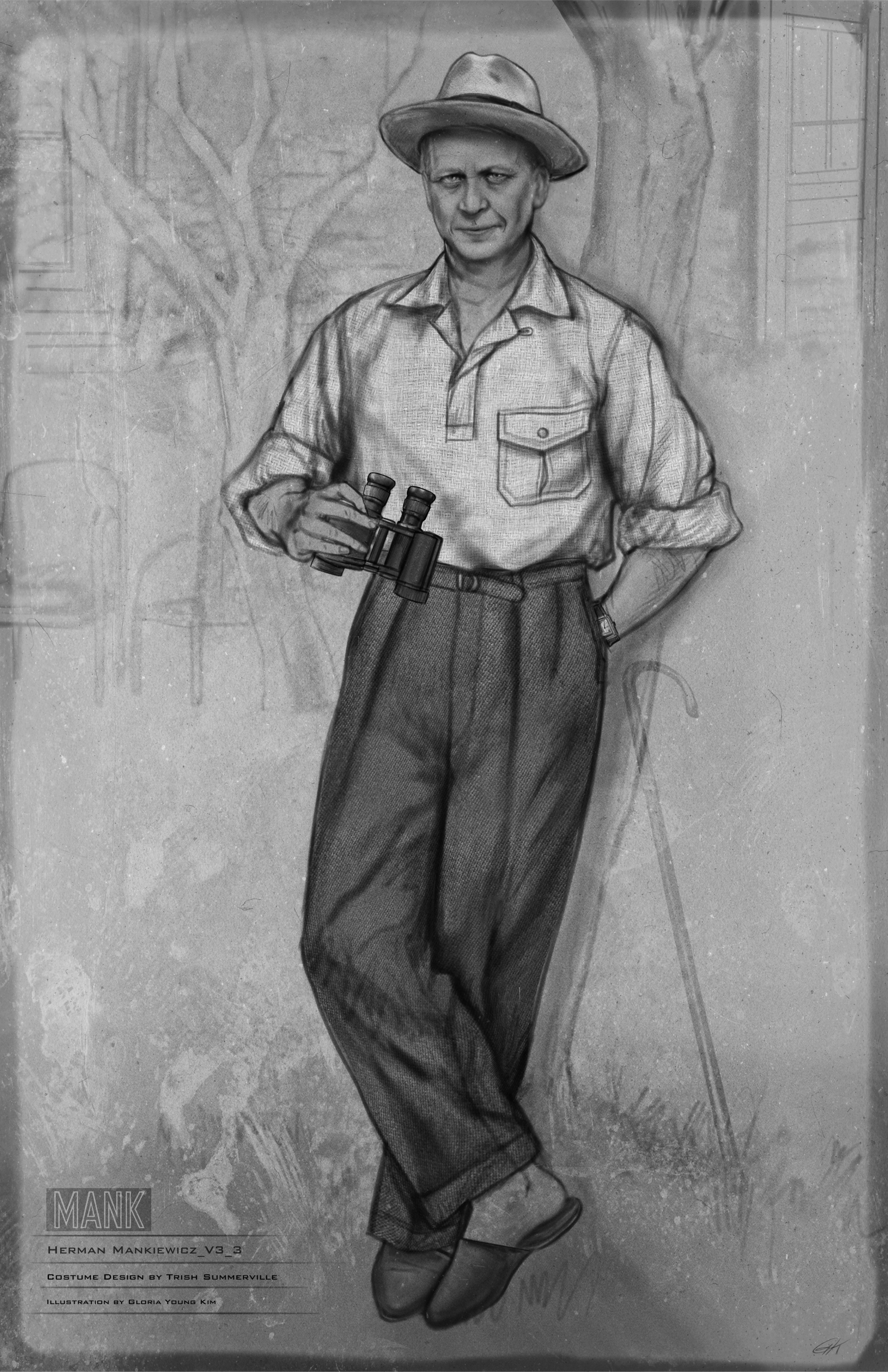 Black-and-white costume sketch for Herman Mankiewicz. He leans against a tree, wearing a loose, light-colored shirt, dark trousers, slip-on shoes, and a fedora. He holds a pair of binoculars.