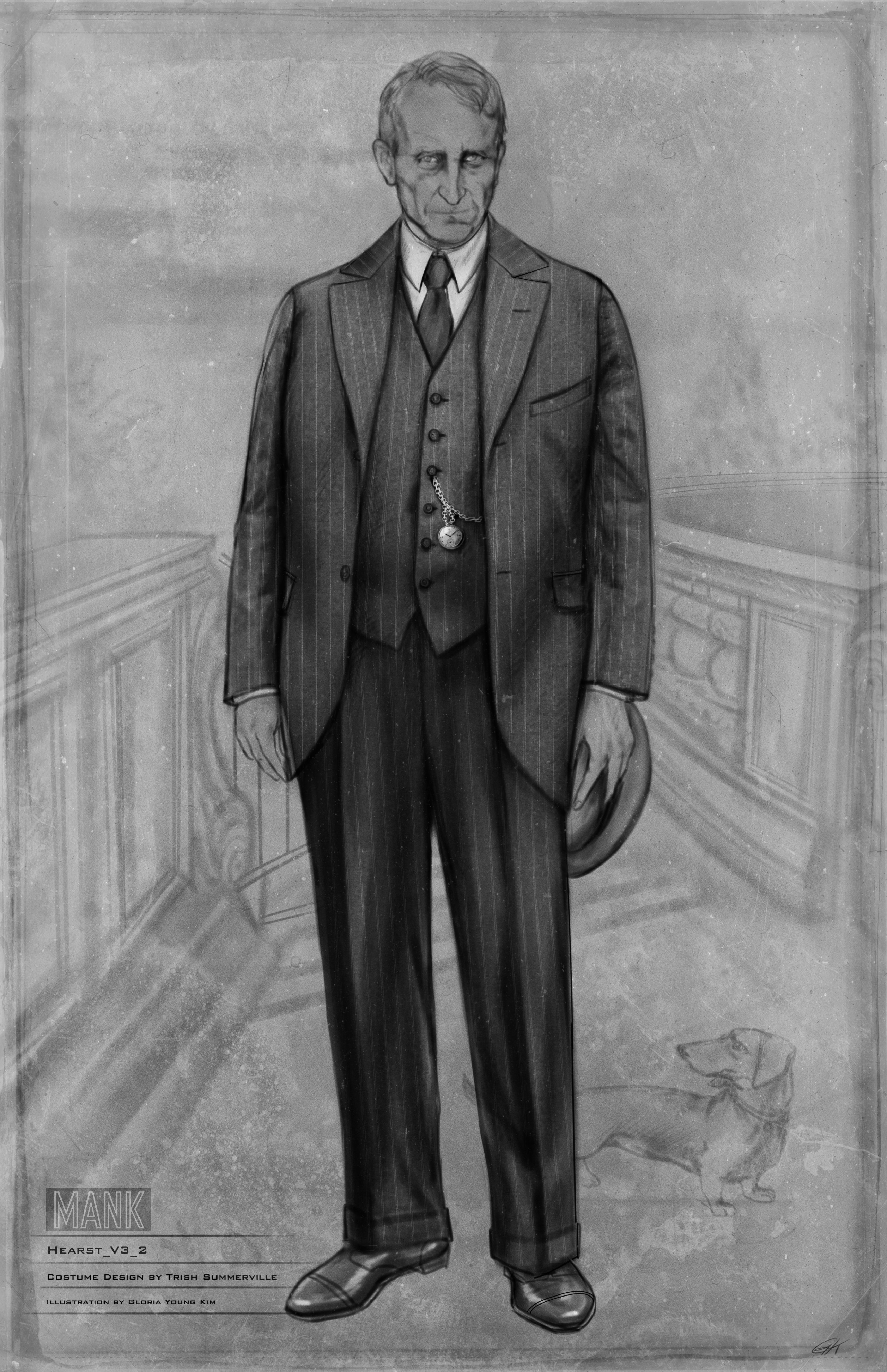 Black-and-white costume sketch for William Randolph Hearst. He looks stern in a pinstripe suit, holding his hat, with a pocket watch peeking through his open jacket.