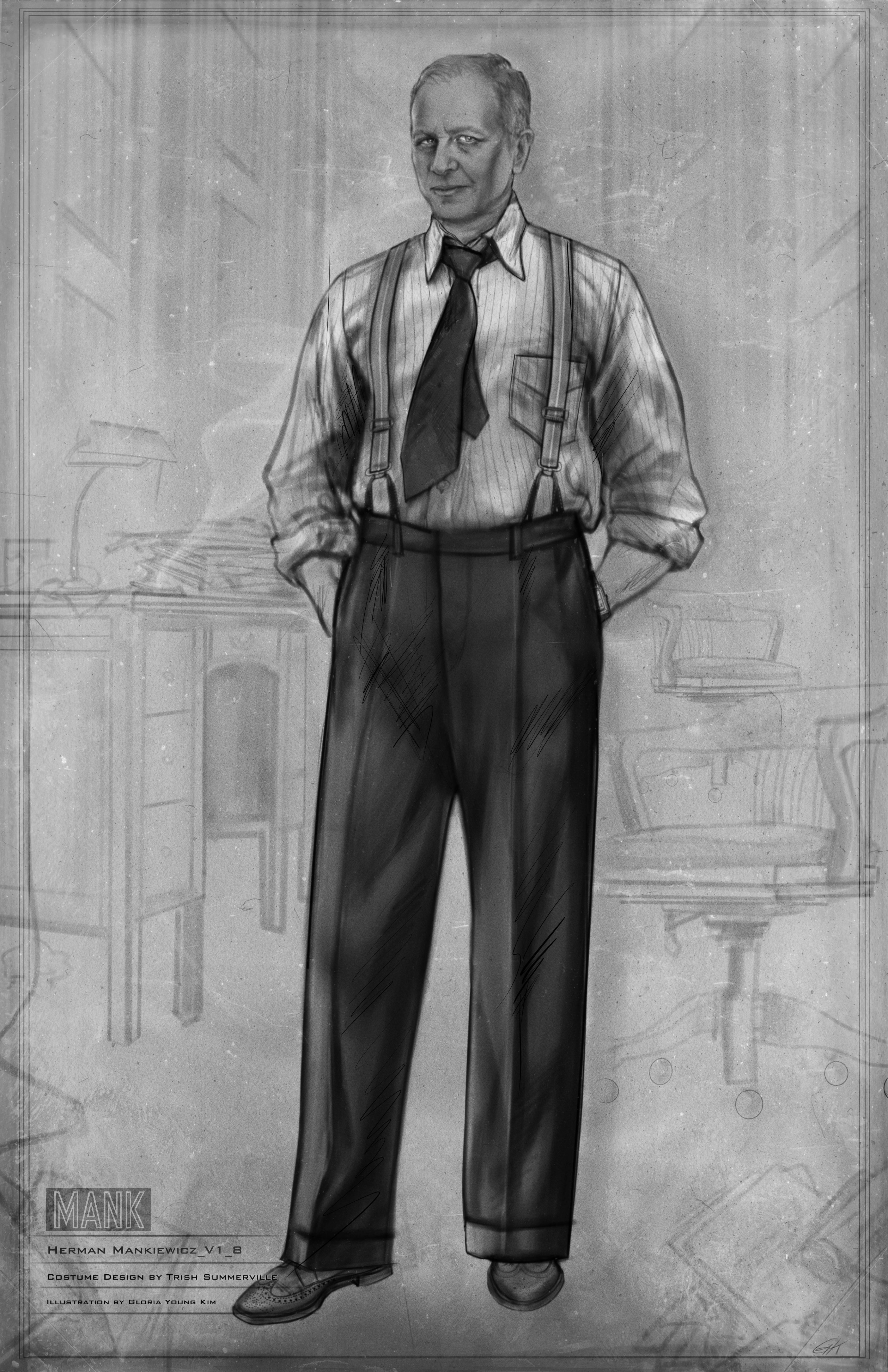 Black-and-white costume sketch of Herman Mankiewicz in an office. He wears suspenders and a vertically striped shirt.