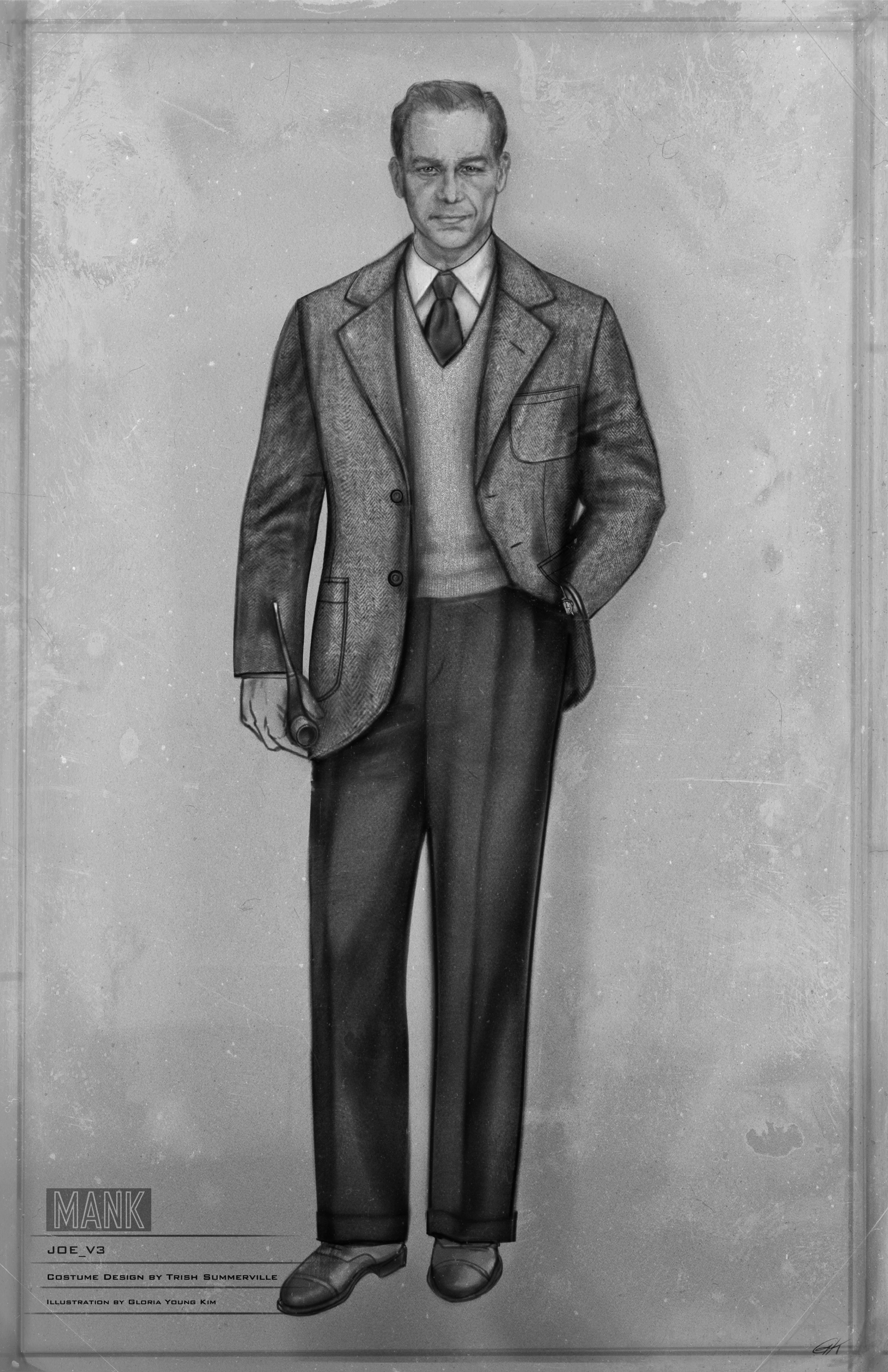 Black-and-white costume sketch of Joe Mankiewicz. He wears a gray suit with matching knit v-neck underneath his jacket, and holds a pipe.