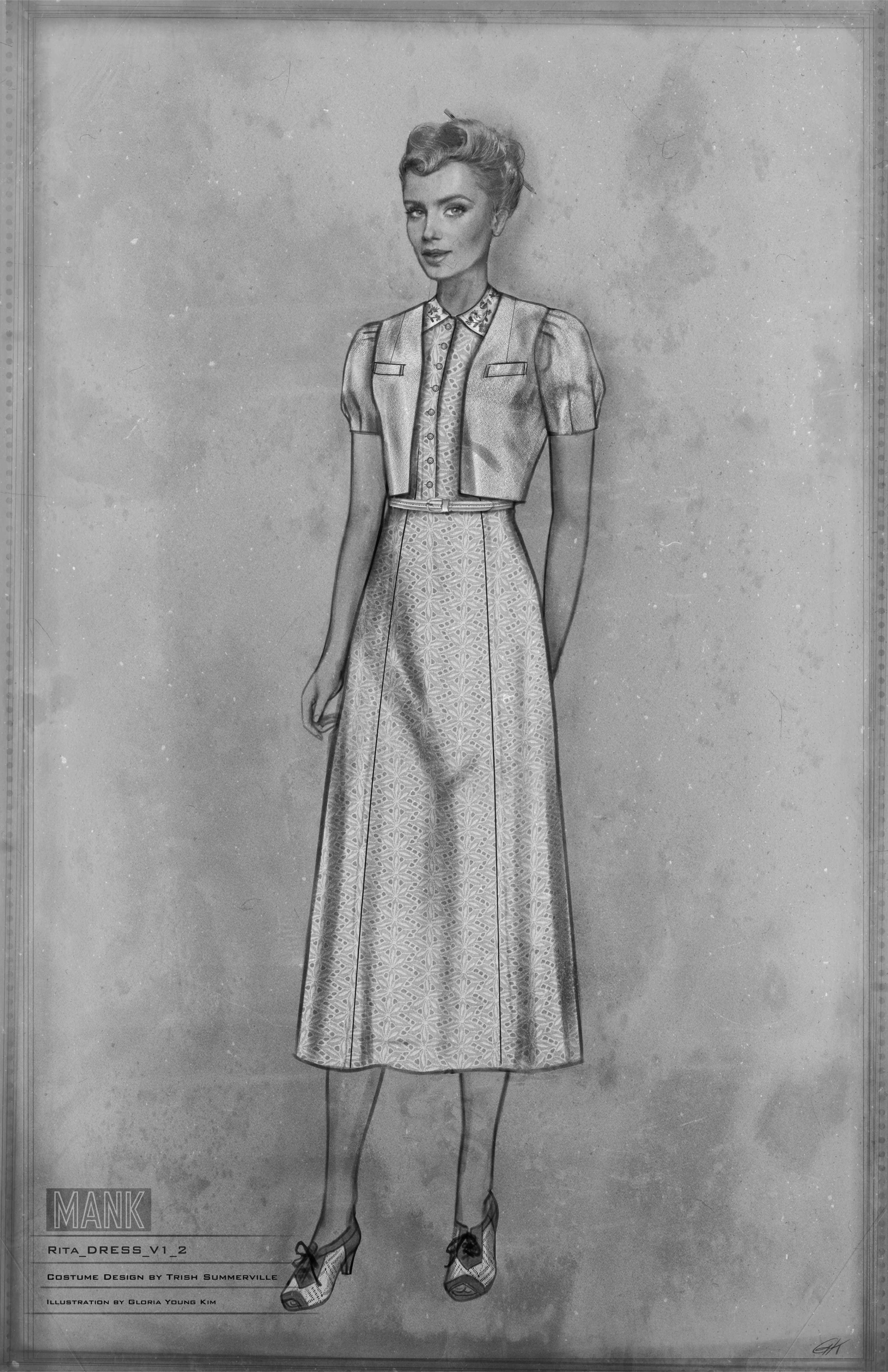Costume sketch of Rita Alexander with her hair pulled back, wearing a belted dress, sensible heels, and short-sleeve bolero.