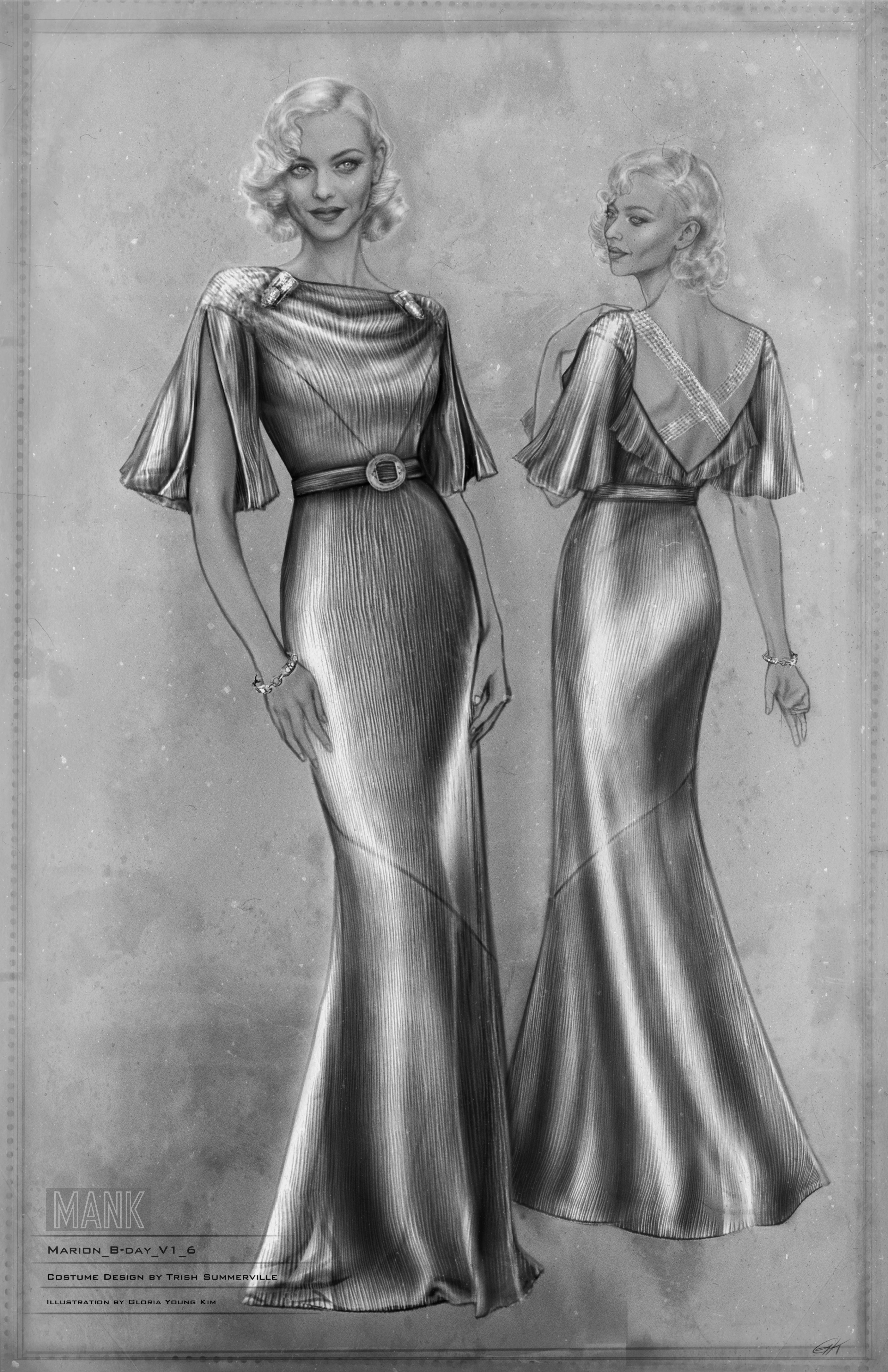 Black-and-white costume sketch of Marion Davies in the gold lamé gown. We see her from two angles, revealing a criss-cross detail over the oufit's back. The sketch highlights how the dress catches the light, and the liquid quality it evokes even in stillness.