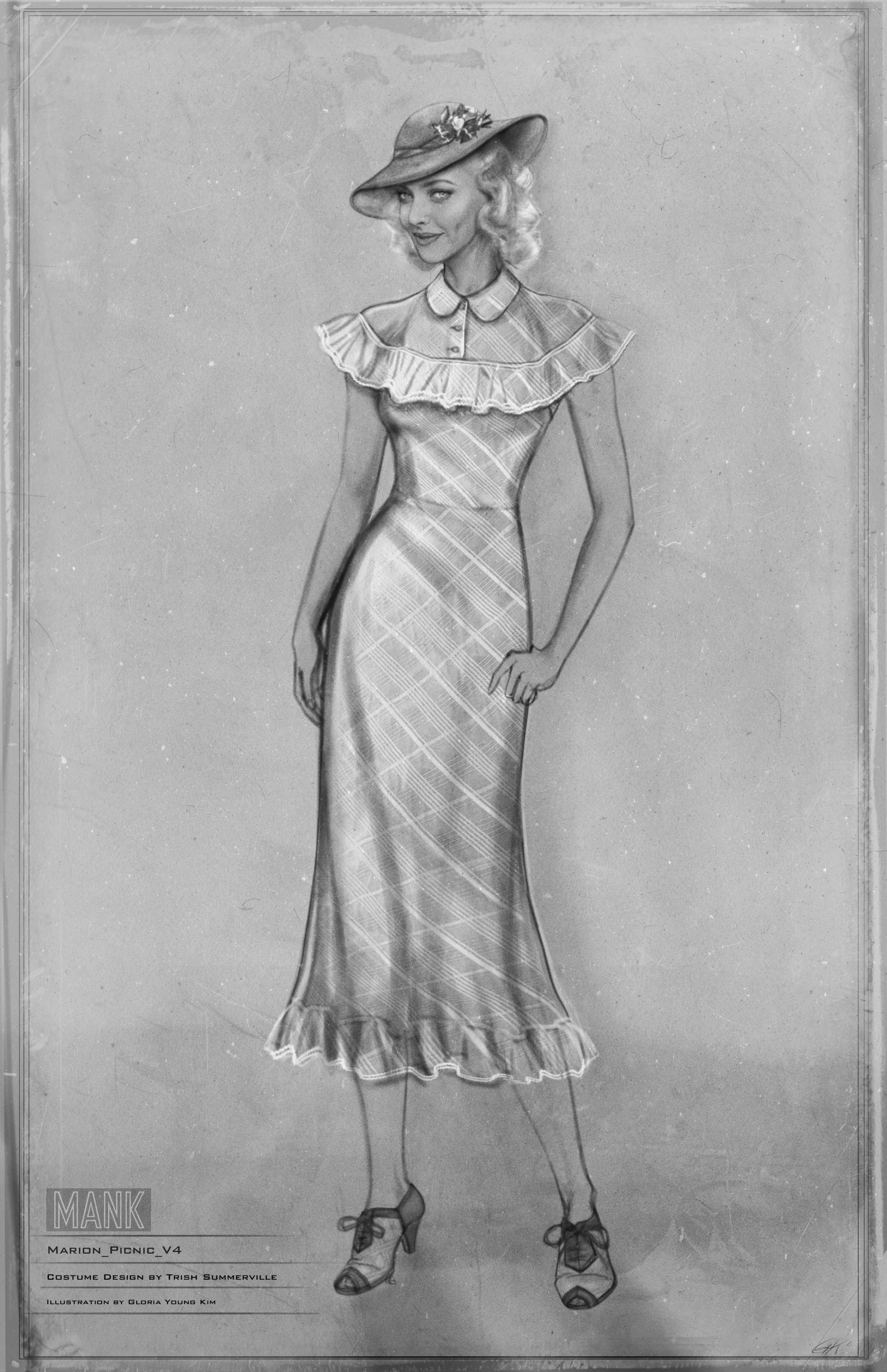Black-and-white costume sketch of Marion Davies wearing her light and airy picnic outfit of double-stripe organza. It's complete with matching hat.