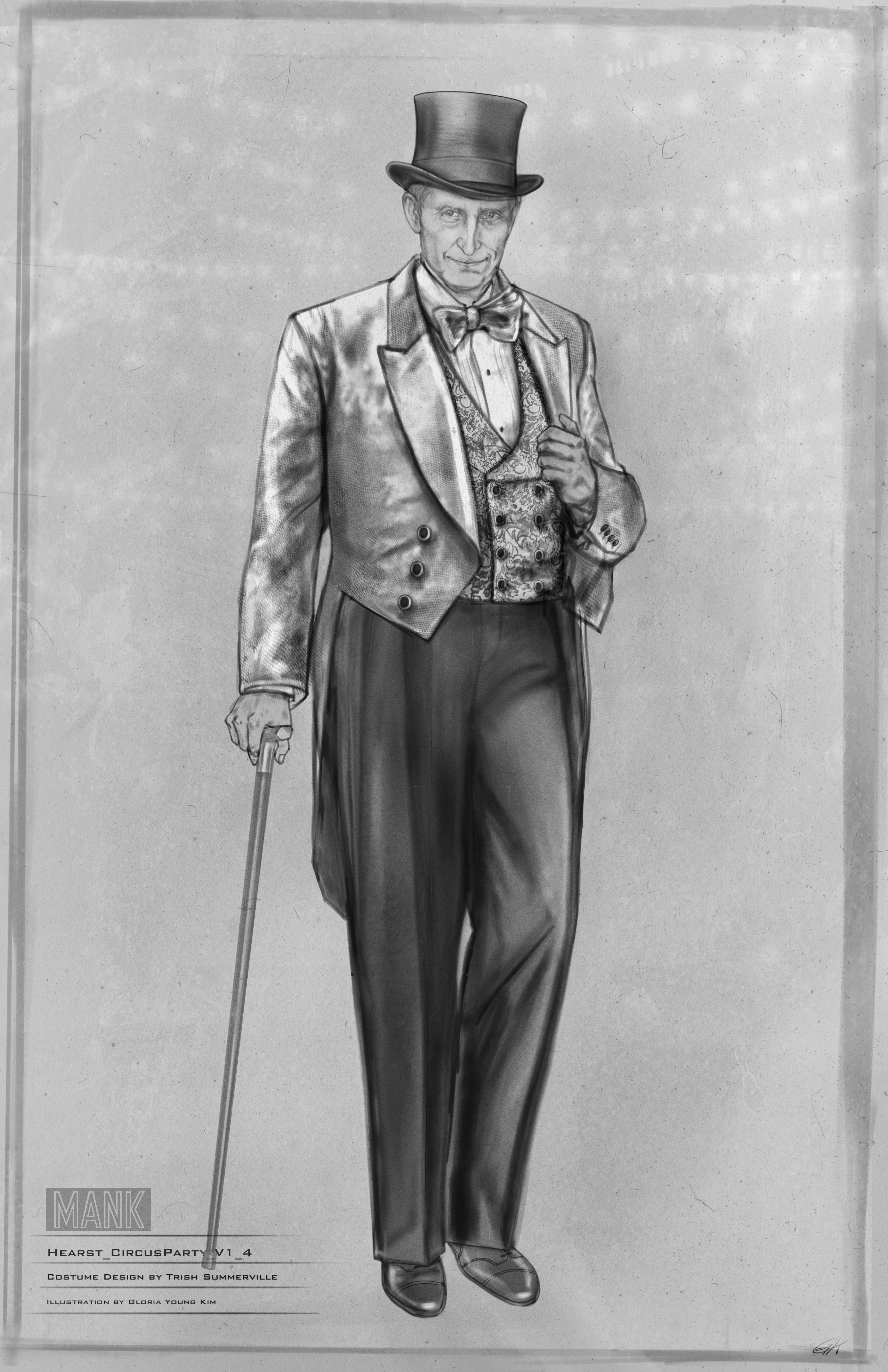 Black-and-white costume sketch of William Randolph Hearst dressed up for a party. He wears a top-hat, tails, and a bowtie, and holds a cane. Even in two-dimensional black-and-white his champagne-colored jacket and vest conjure a certain je ne sais quoi.
