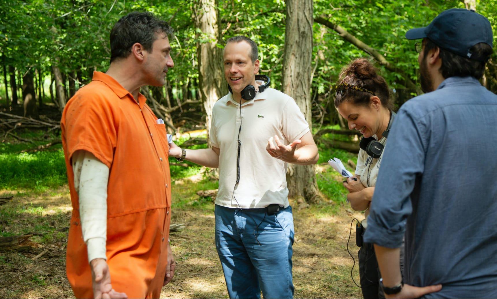 Jon Hamm with co-creator Robert Carlock and executive producer/writer Meredith Scardino