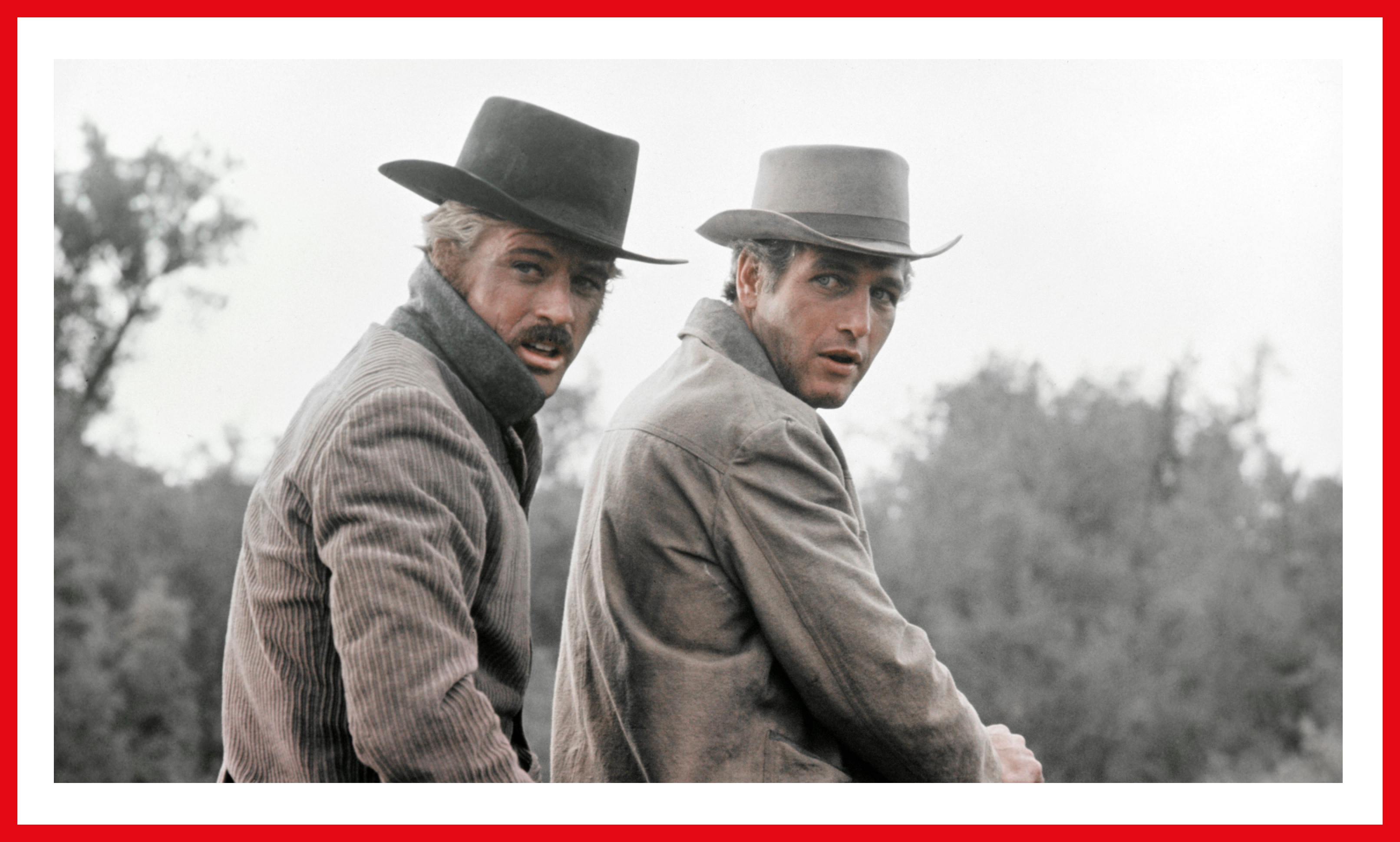 A still from the film. Robert Redford and Paul Newman ride through the Wild West.