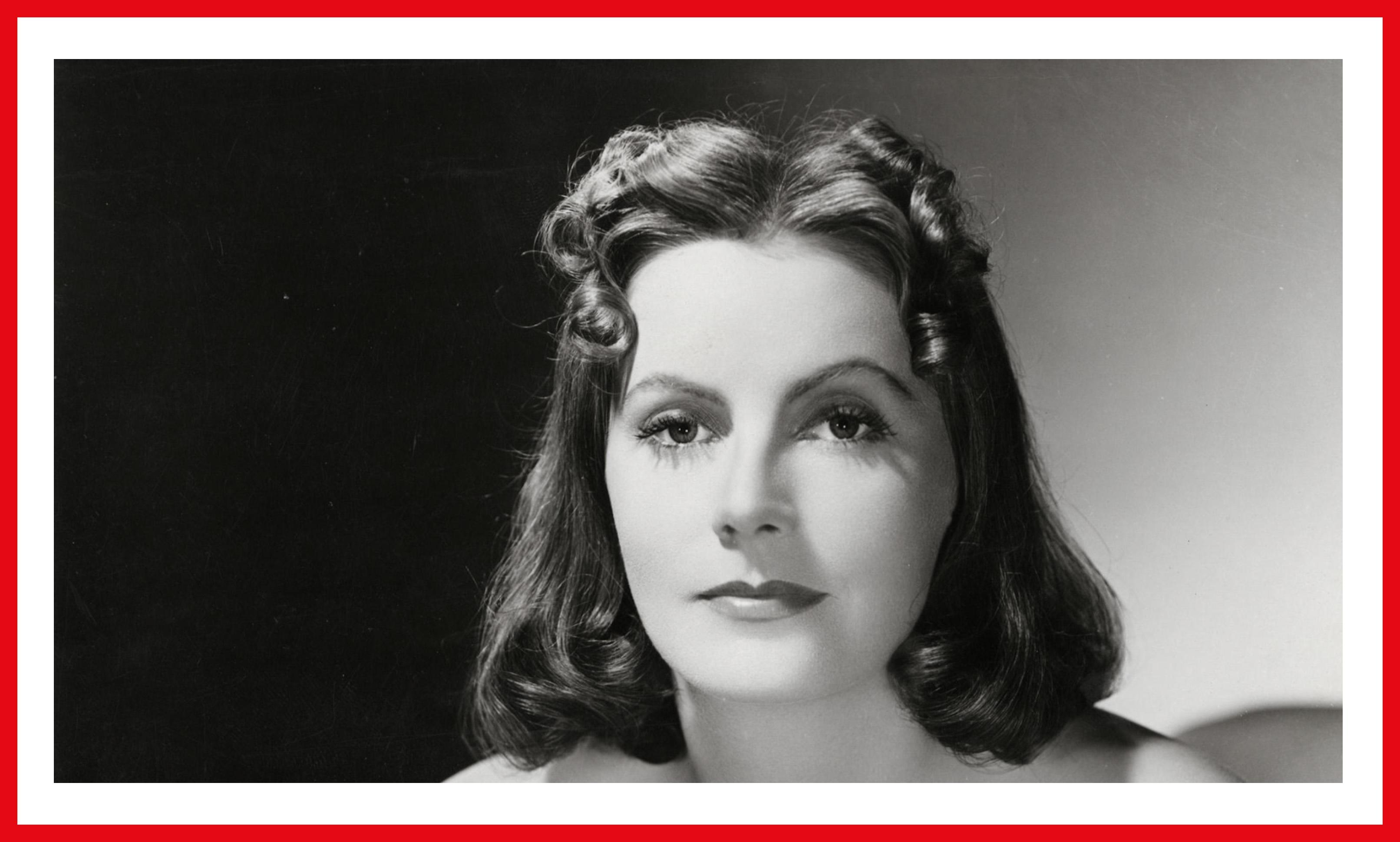 Garbo as Ninotchka, sporting a remarkable center-part.
