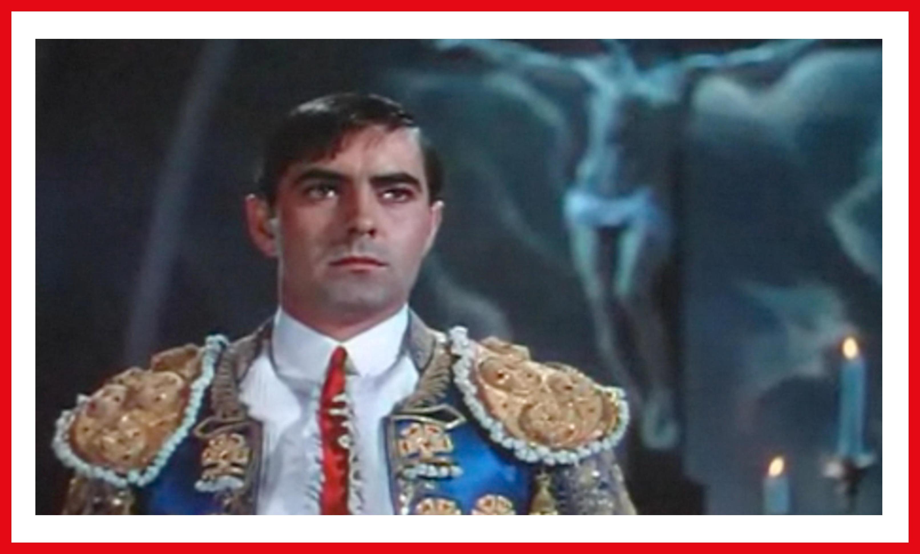 Power as Juan Gallardo, gallant in his blue and gold bullfighting costume