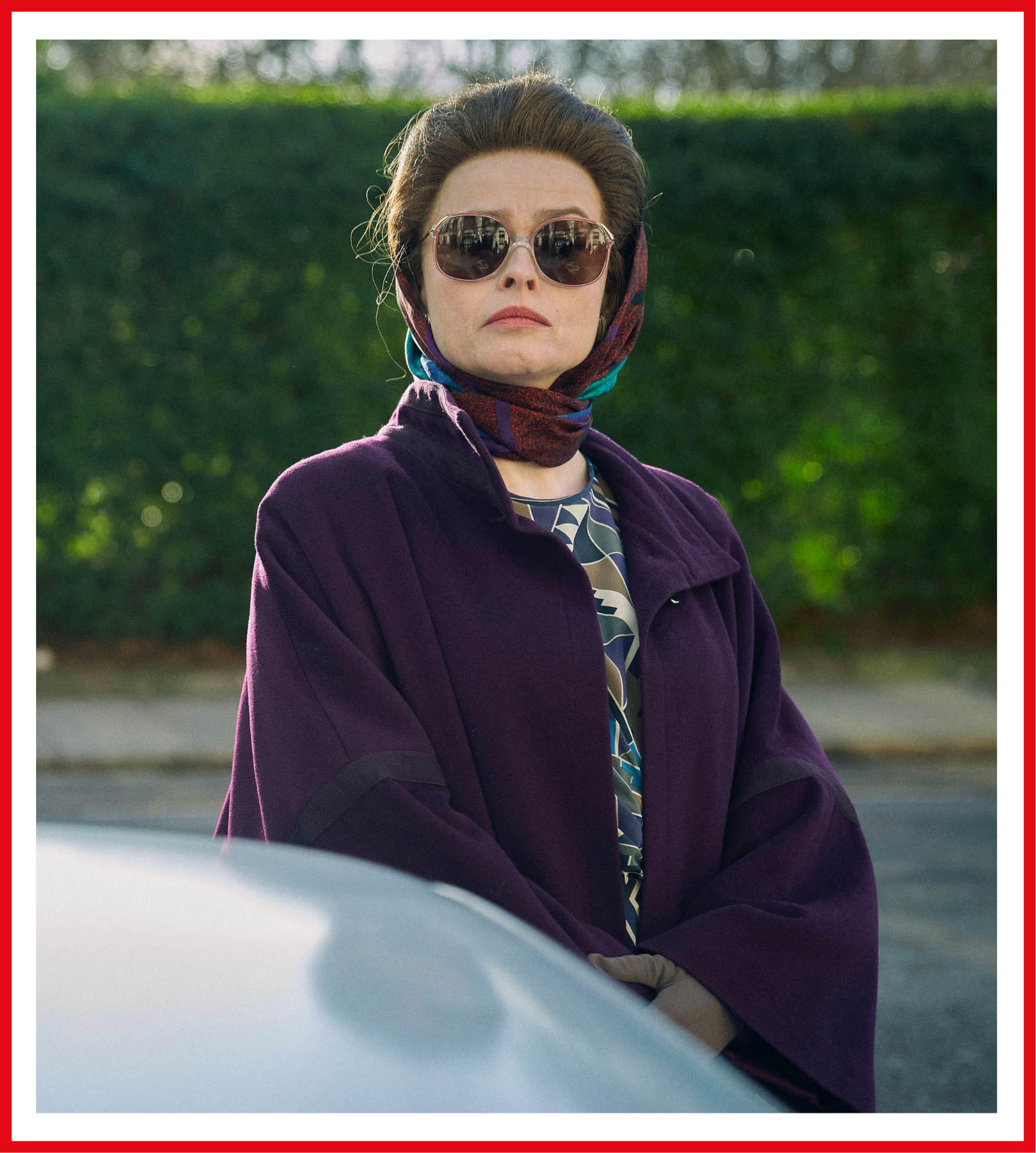 Helena Bonham Carter as Princess Margaret looks chic in this deep-purple get-up.