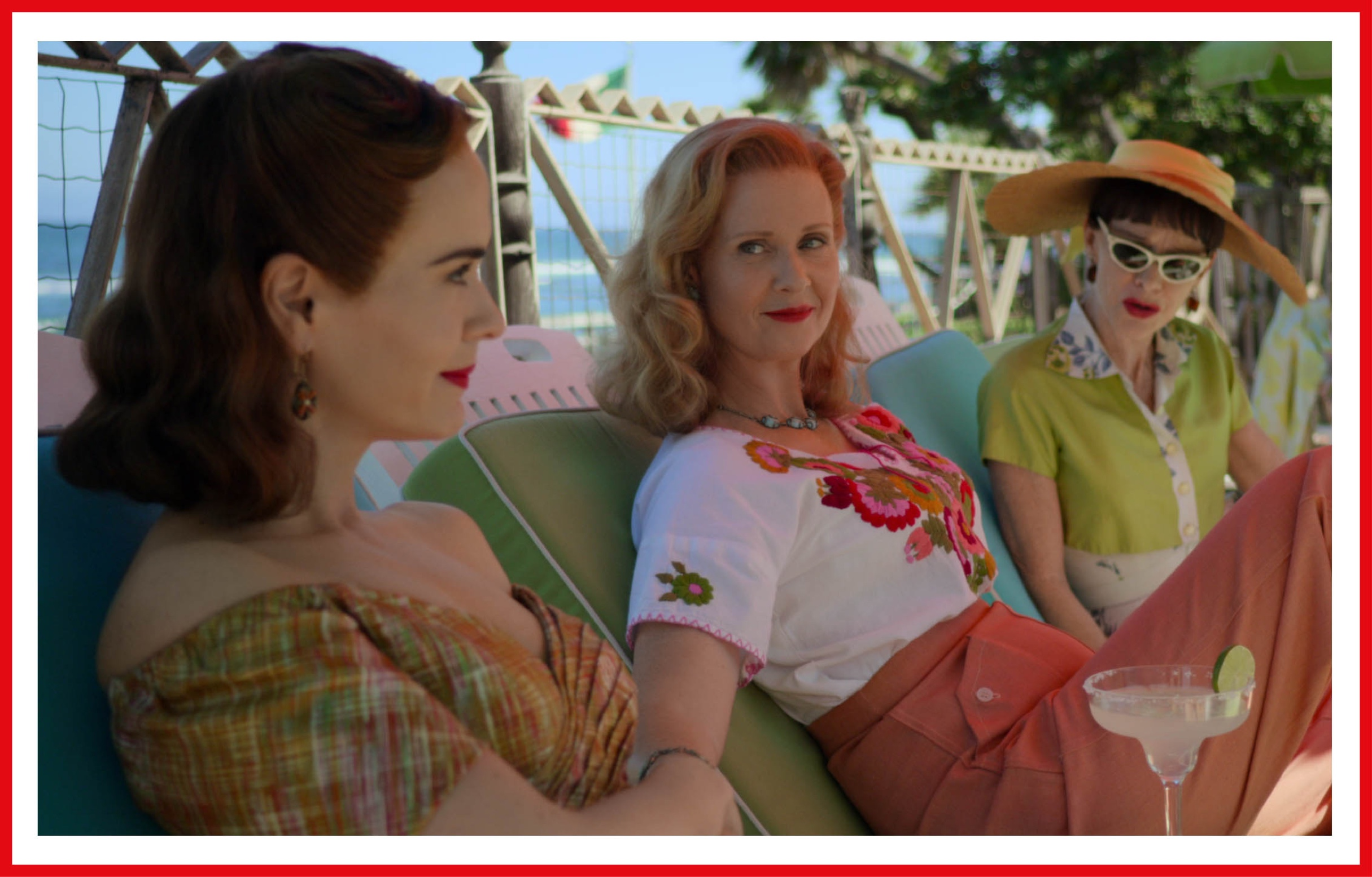 Cynthia Nixon and Sarah Paulson both sport a strong red lip in a scene from Ratched