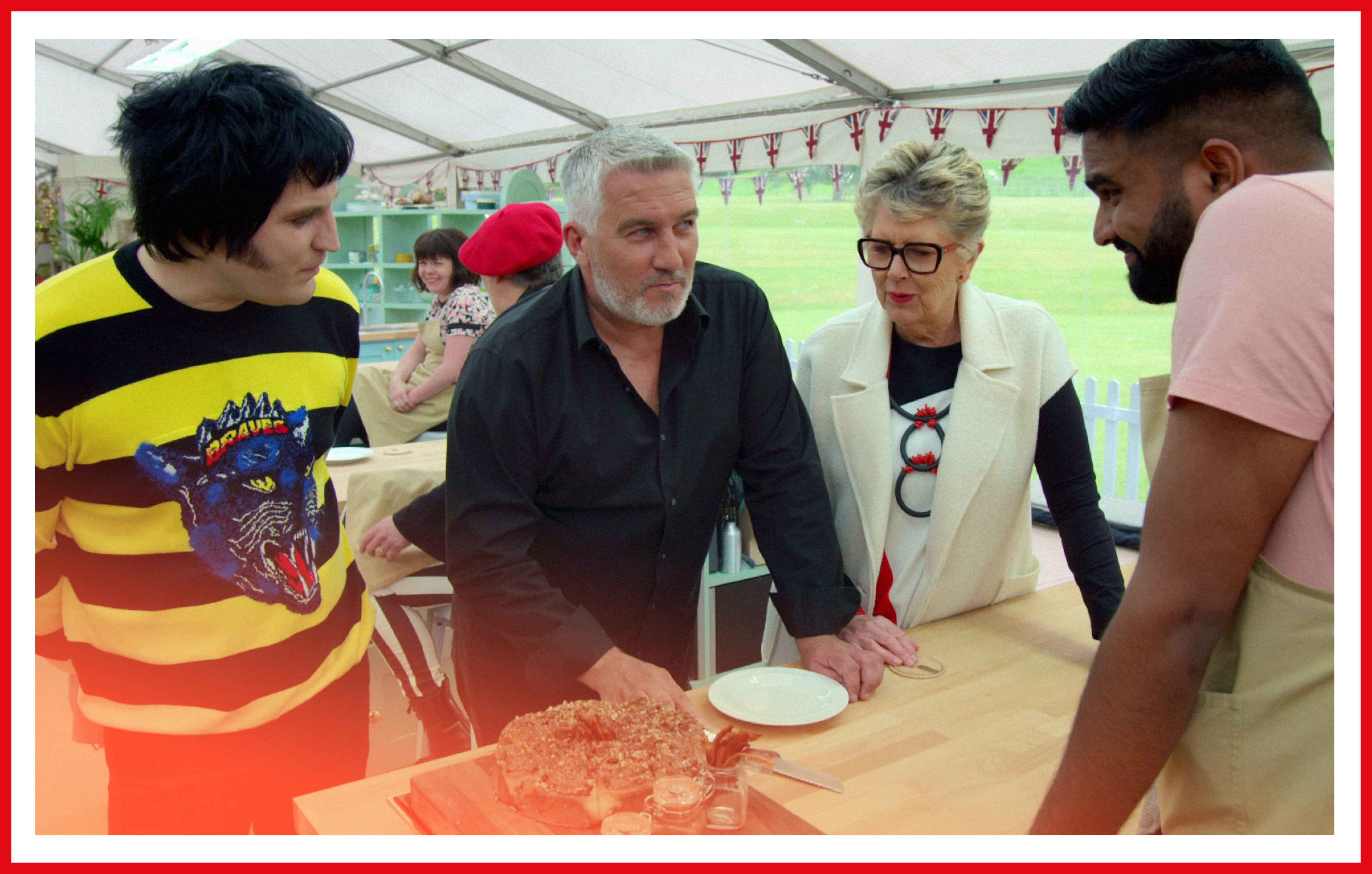 Paul Hollywood gives Antony that signature blank stare as he assesses his bake.