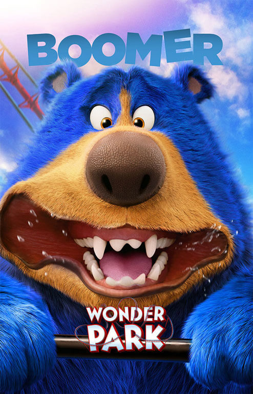 Boomer the bear's cheeks fly in the wind as they fly along on the roller-coaster.