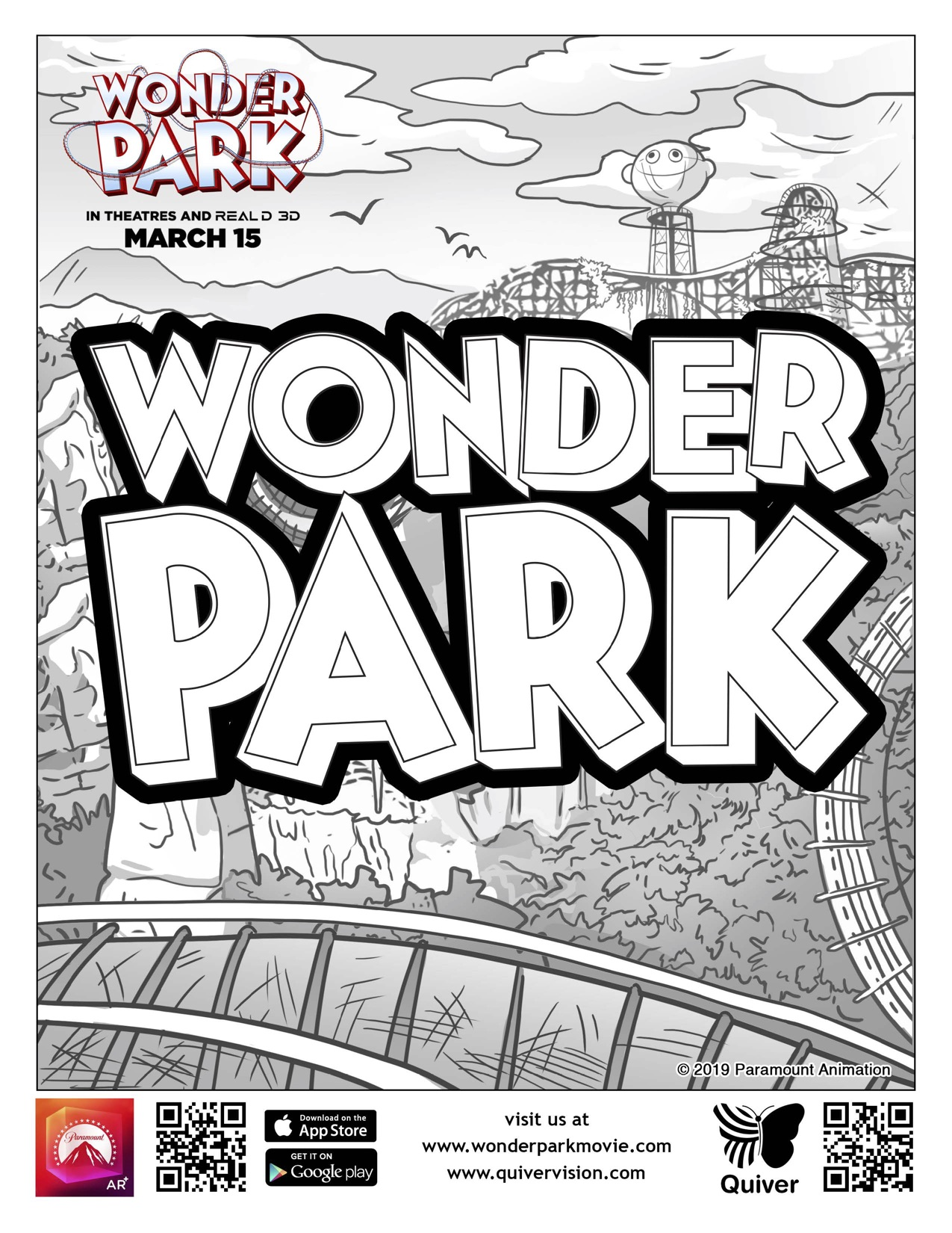 The Wonder Park colouring book; an uncolored example page of the Wonder Park title.