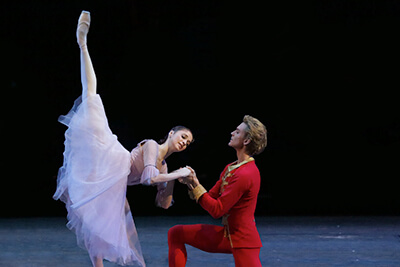 **THE NUTCRACKER**  In this timeless story accompanied by Tchaikovsky's beloved score, rising star Soloist Margarita Shrainer perfectly embodies Marie's innocence and enchantment along with the supremely elegant Principal Dancer Semyon Chudin as The Nutcracker, captivating audiences of all ages and bringing them on an otherworldly journey.