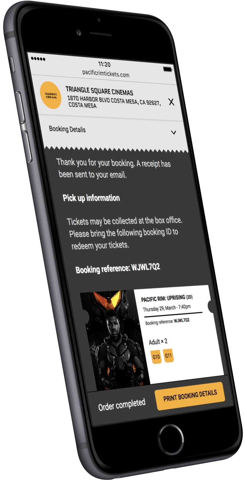 A modern smartphone displaying an example of Powster's ticketing platform.