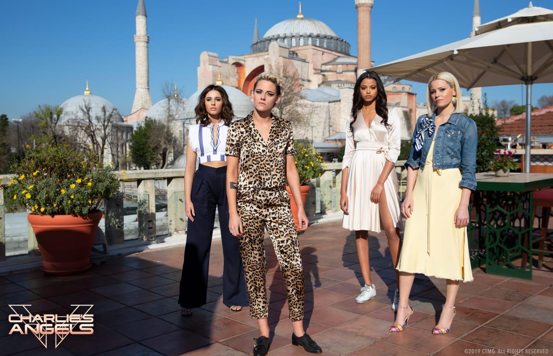 Ella Balinska, Naomi Scott, Kristen Stewart and Elizabeth Banks star in Charlie's Angels.
