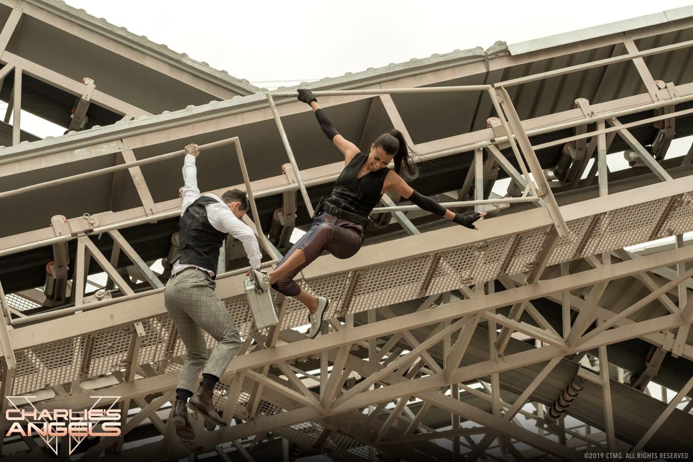 Noah Centineo and Ella Balinska in Charlie's Angels.