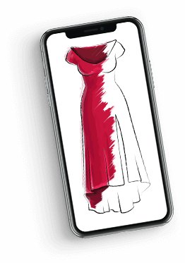 Sketch of a red dress on a mobile phone