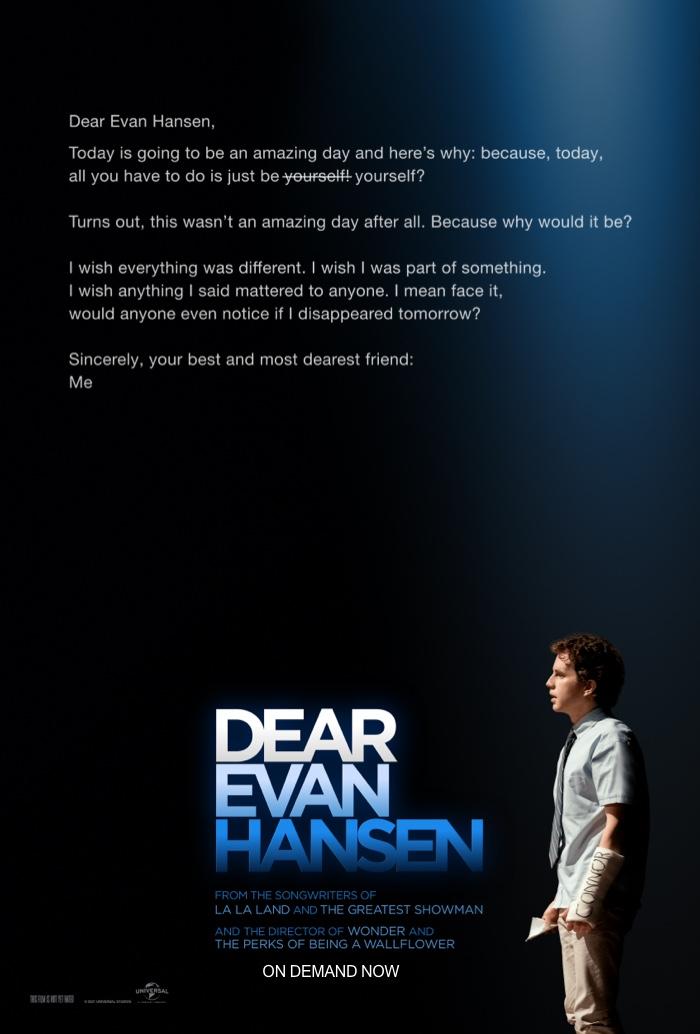 Poster for Dear Evan Hansen. Movie in theaters September 24, 2021.