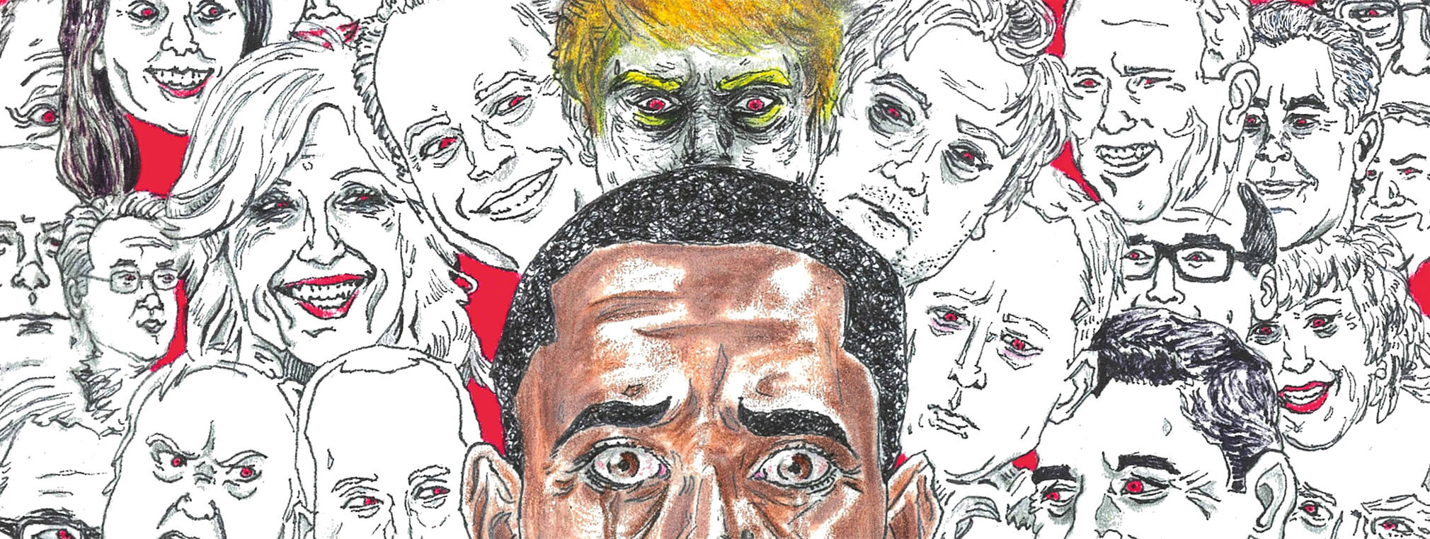 Chris' face has been morphed into the former President Obama. He is sitting in a black suit surrounded by smaller black and white hand-drawn faces- including 'President' Trump.