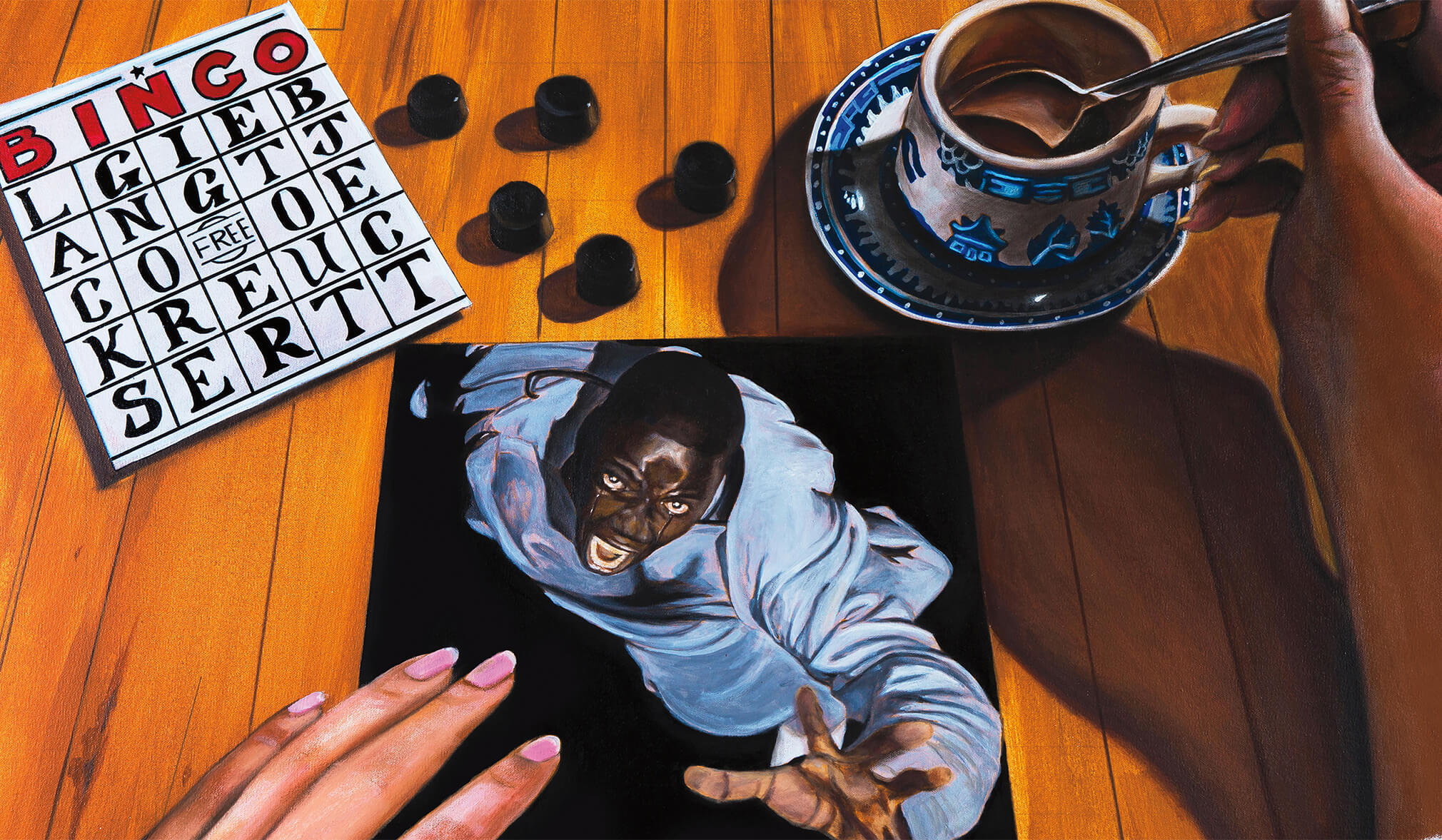 A hand is resting on a black tea-coaster containing Chris falling into the void.  Around the desk there is a bingo card, a cup of tea and checkers.