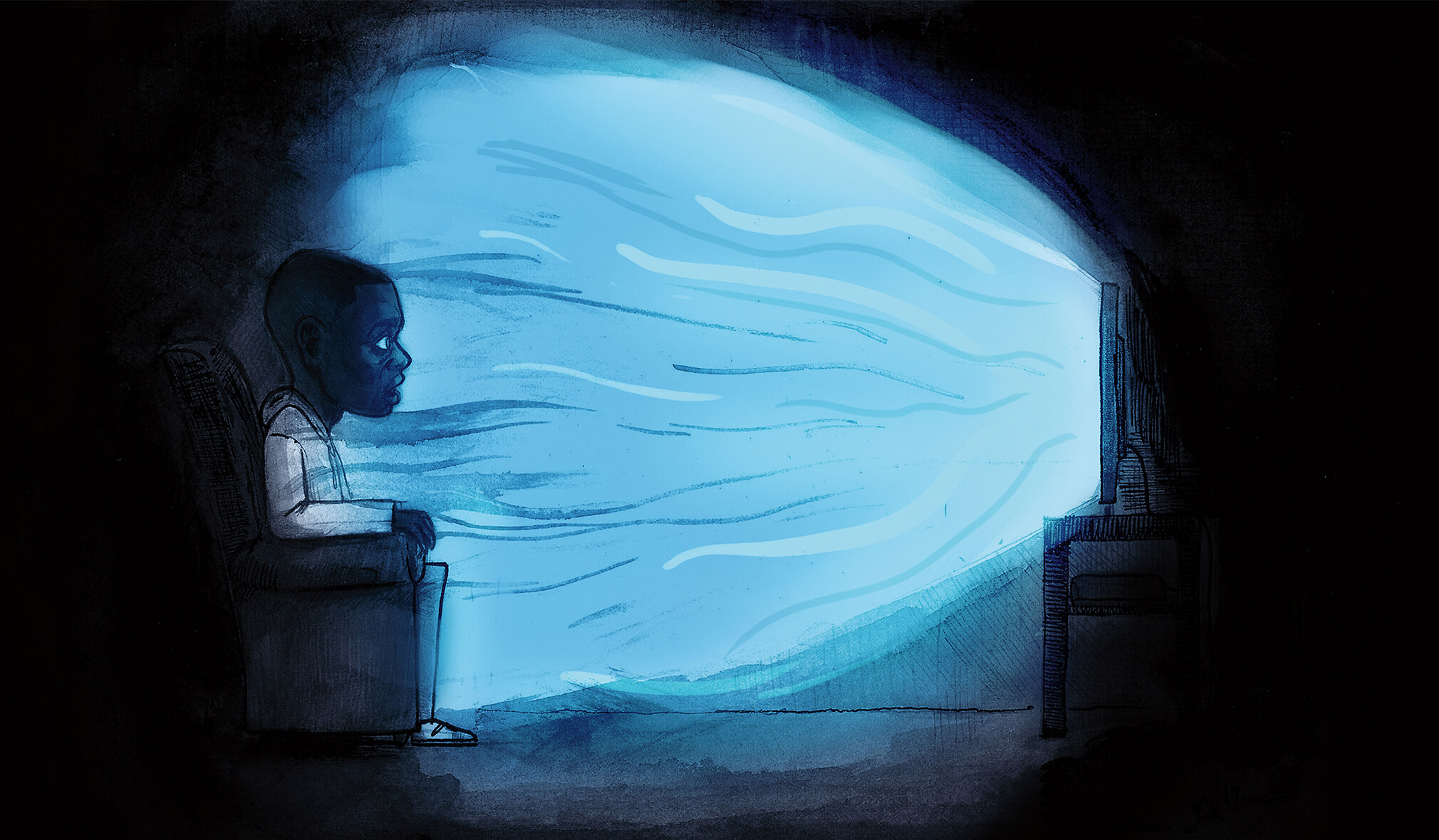 A cartoon-like Chris sits on the sofa watching the television. Light blue rays emit from it's centre.