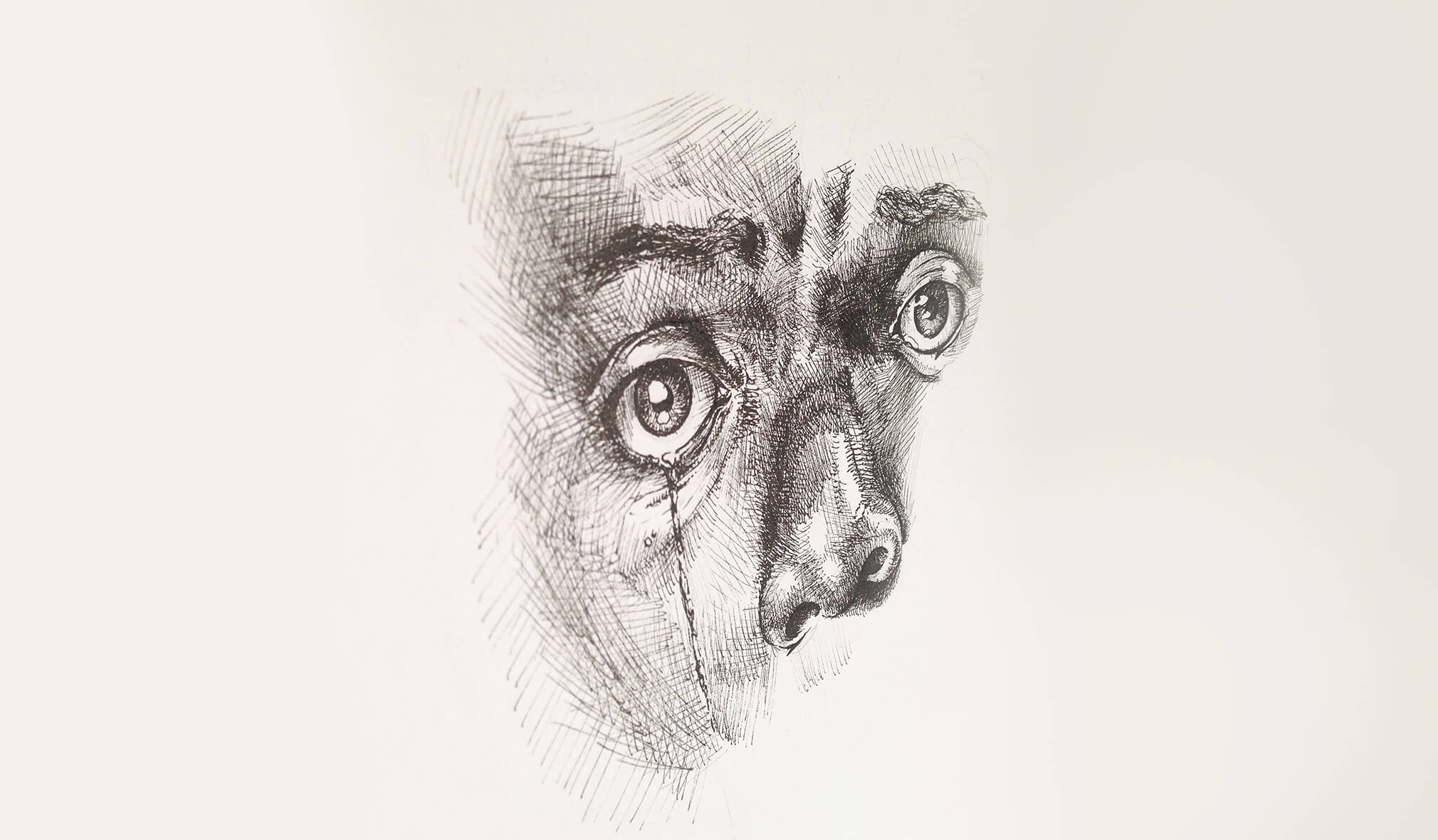 A black and white sketch of Chris eyes. A solitary tear rolls down his face.