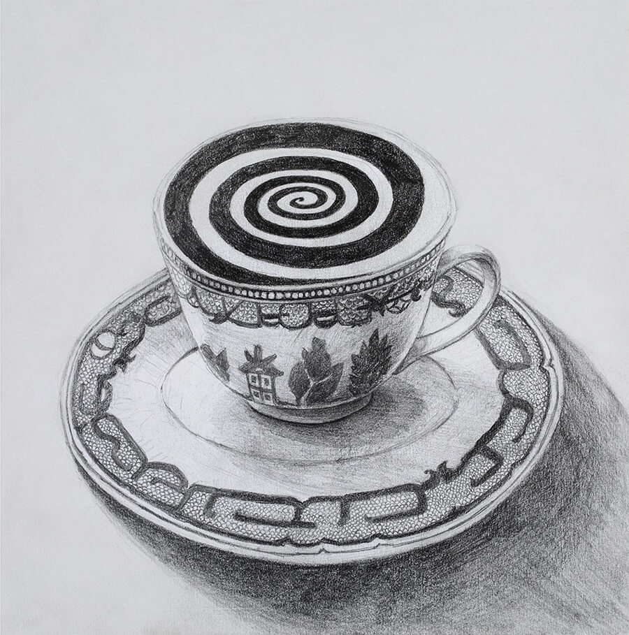 A black and white sketch of a teacup. Inside, there is a swirling pattern.
