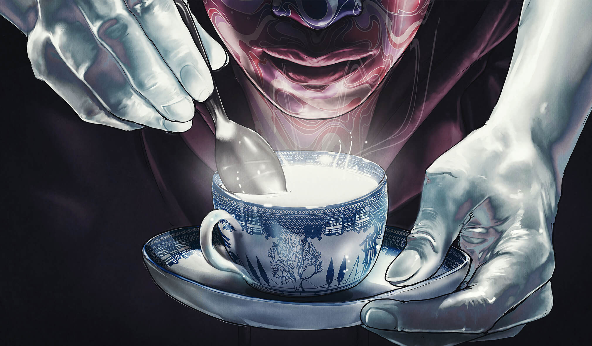 A purple, marble-faced Chris leans over a glowing white porcelain teacup; from the darkness two white hands emerge stirring the spoon.