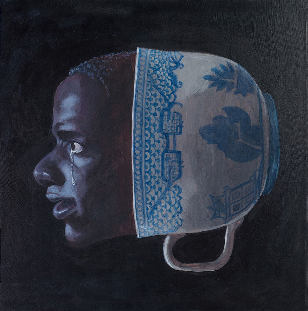 The head of a crying Chris Washington emerges from a giant porcelain teacup.